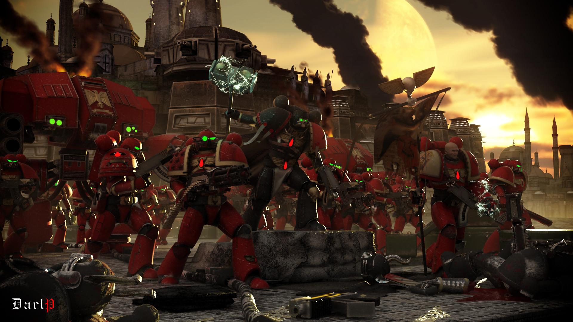 Warhammer 40k art about 3d blood_angels bolter chainsword chaos dartp .