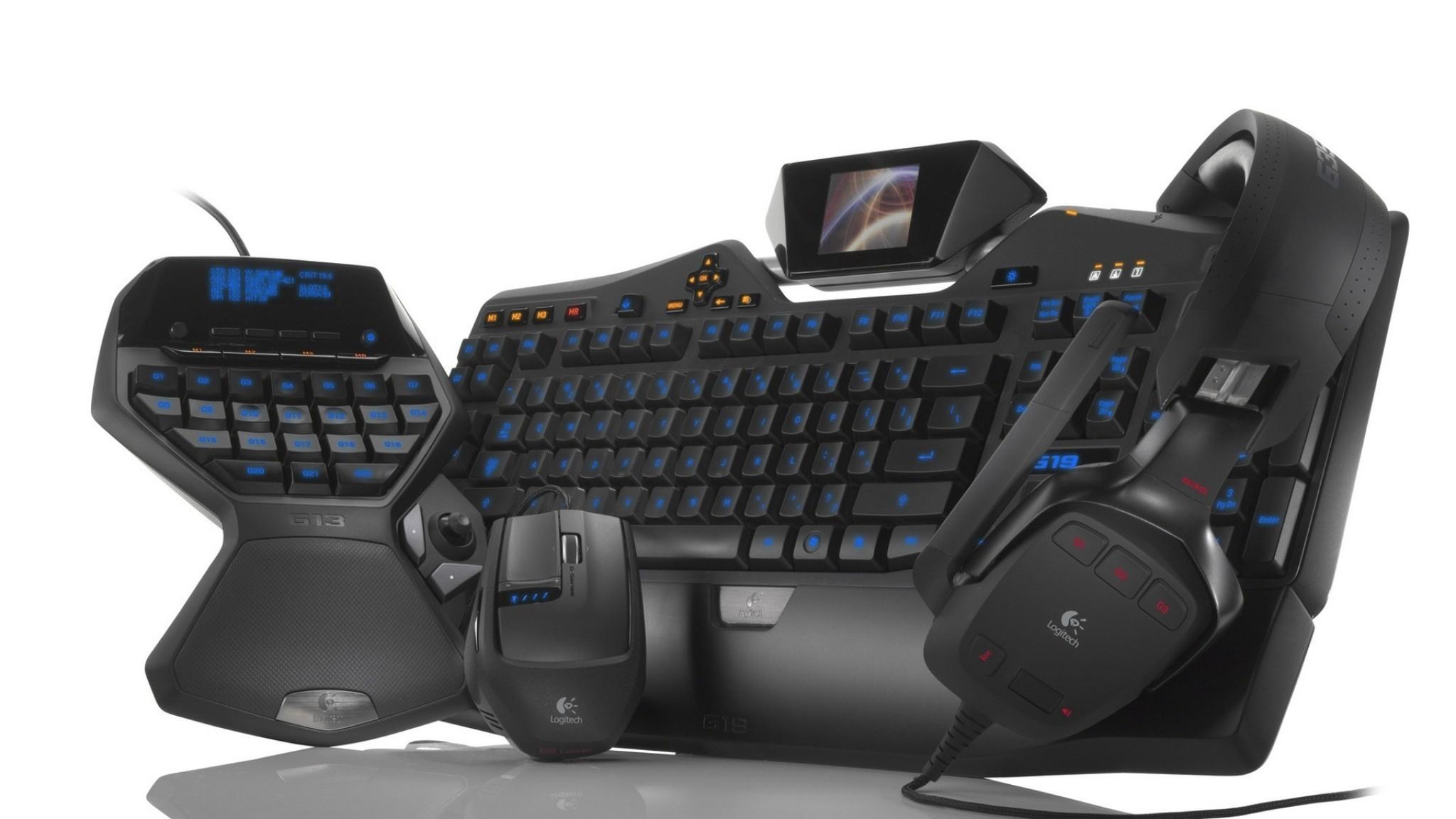 Wallpaper gaming keyboard, headphones, computer mouse