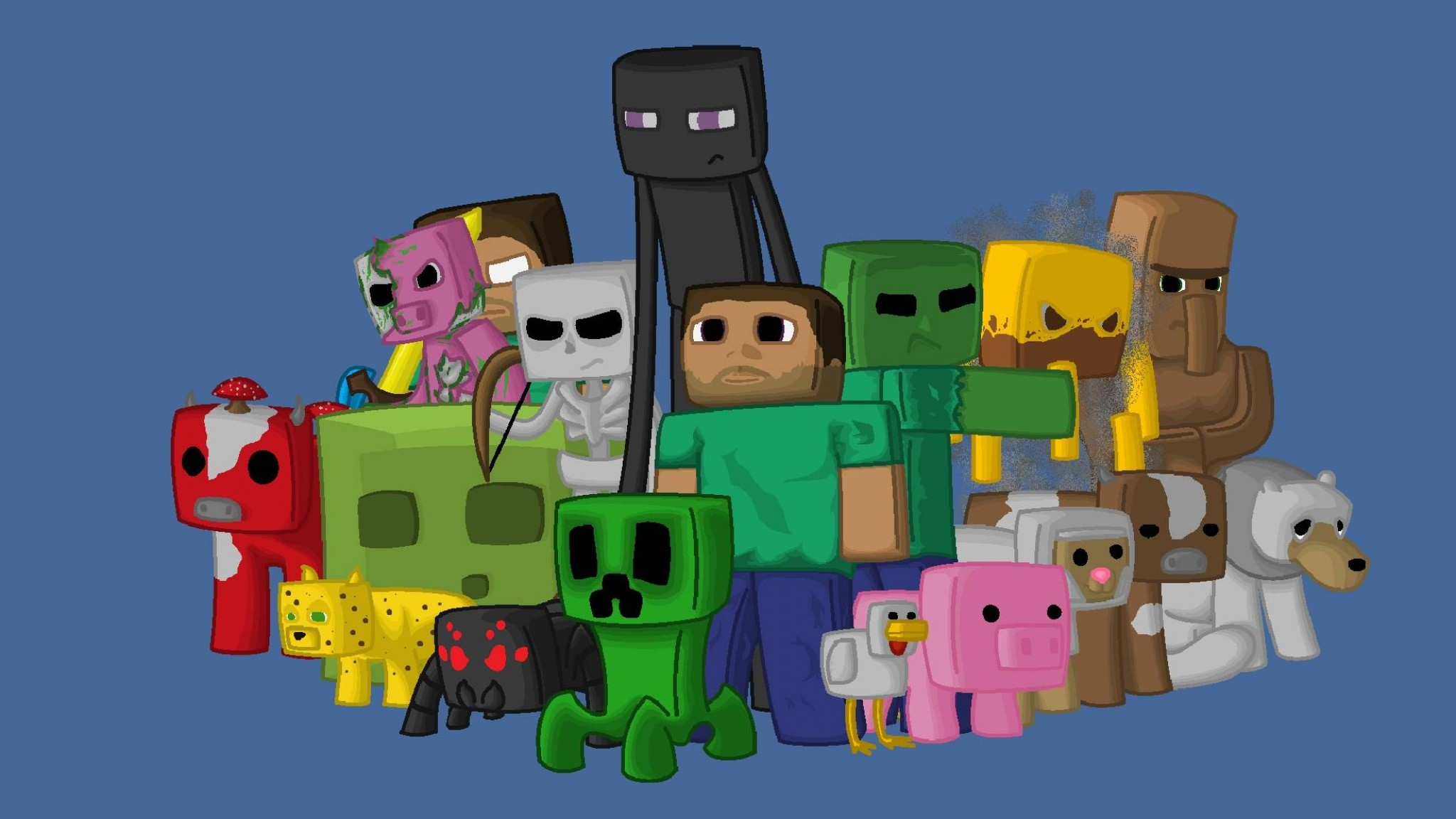 Preview wallpaper minecraft, characters, game, pixels, java 2048×1152