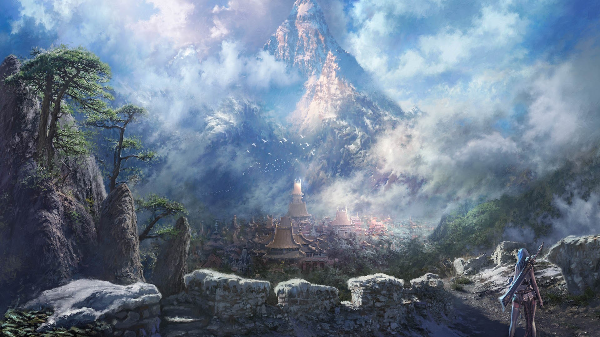 Preview wallpaper blade and soul, mountains, rock, girl, art 1920×1080