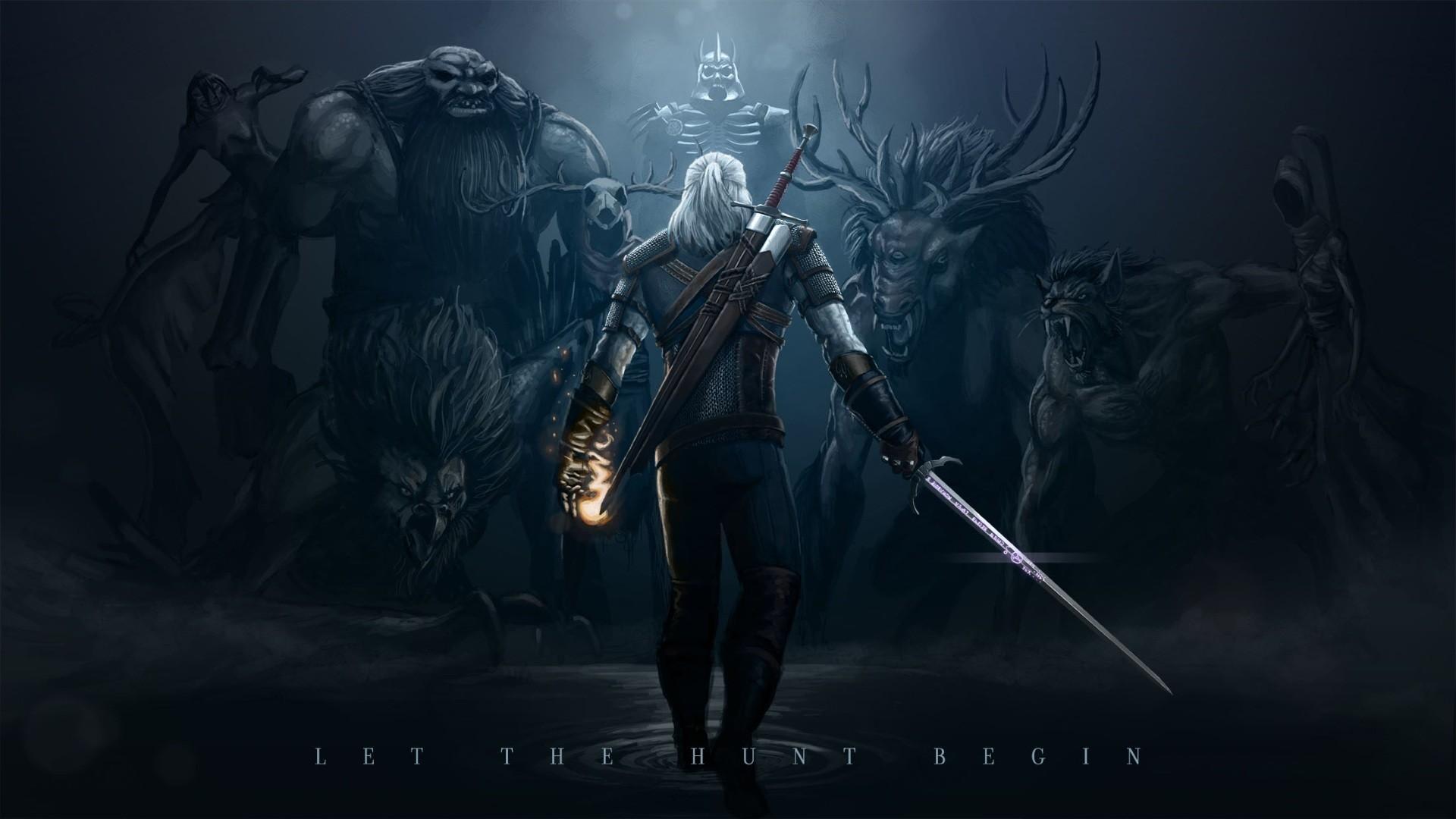 Wallpaper the witcher 3, wild hunt, monsters, art, warrior