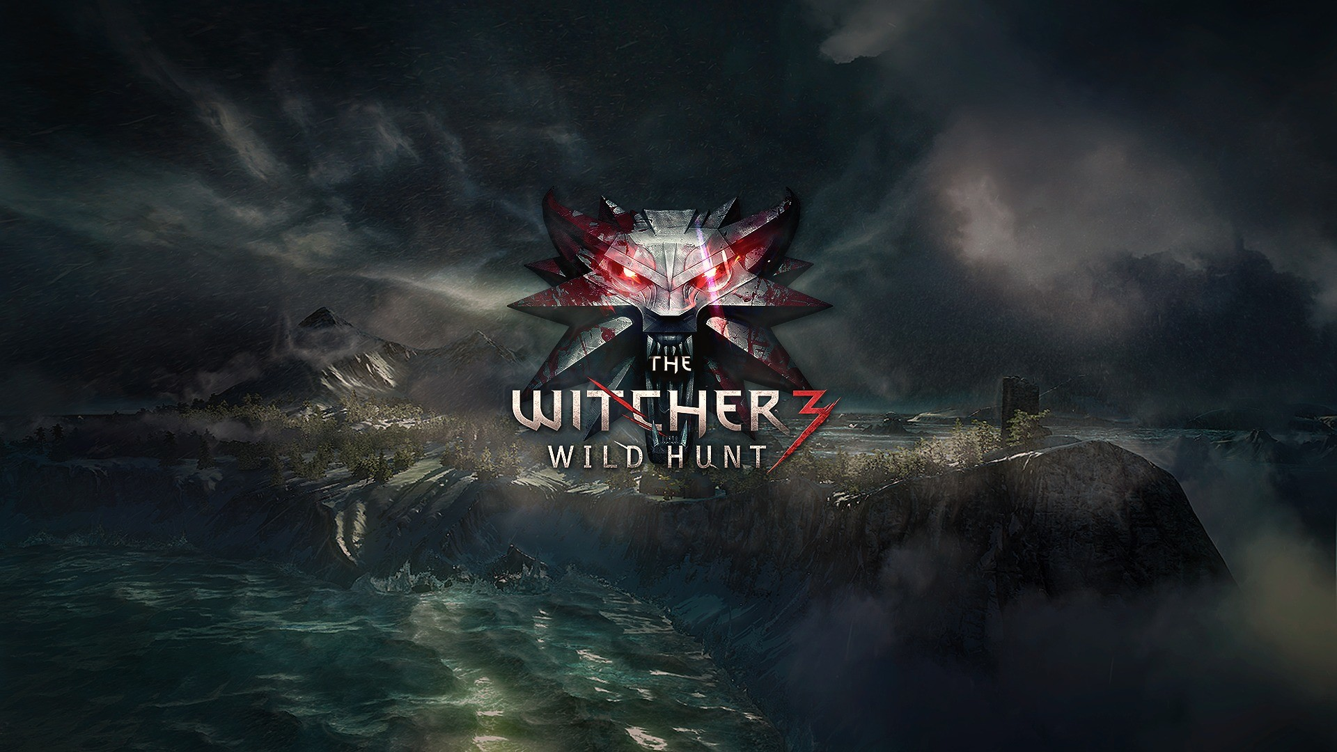 Preview wallpaper the witcher 3, wild hunt, logo 1920×1080