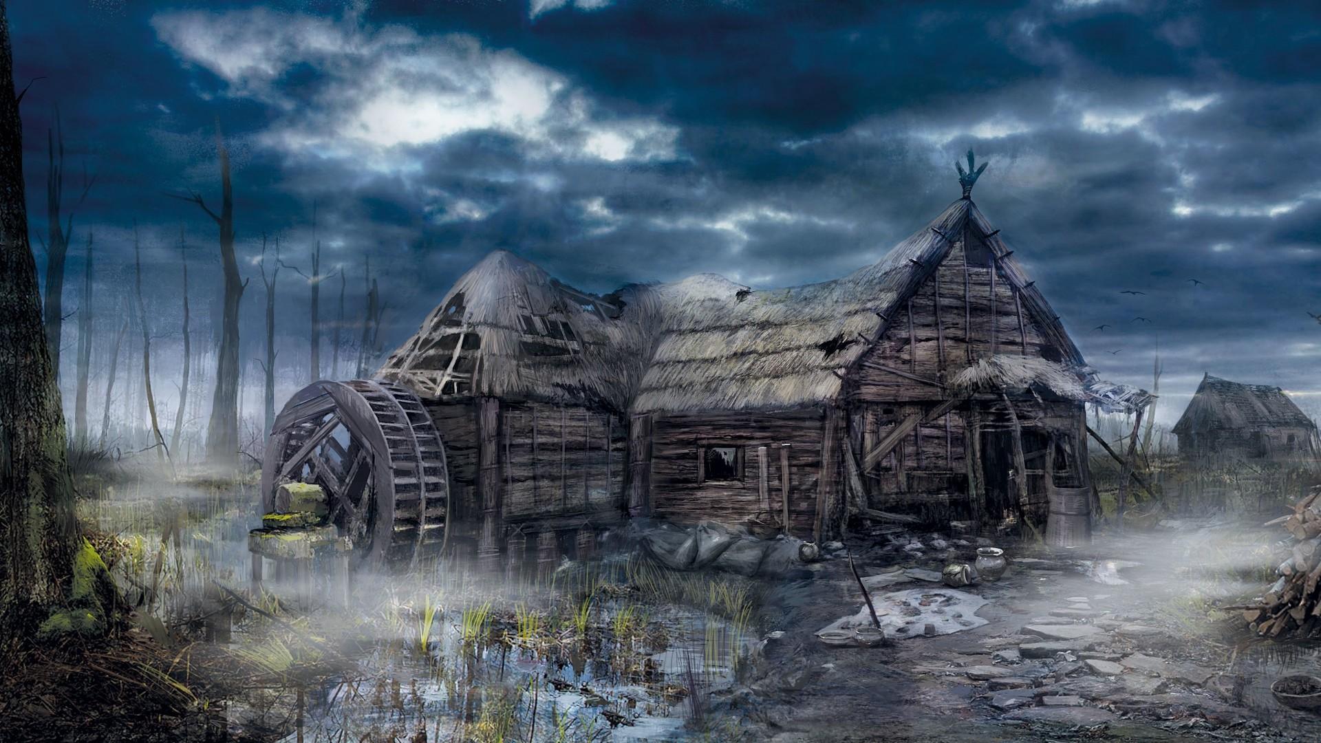 Wallpaper the witcher 3, wild hunt, village, house, art