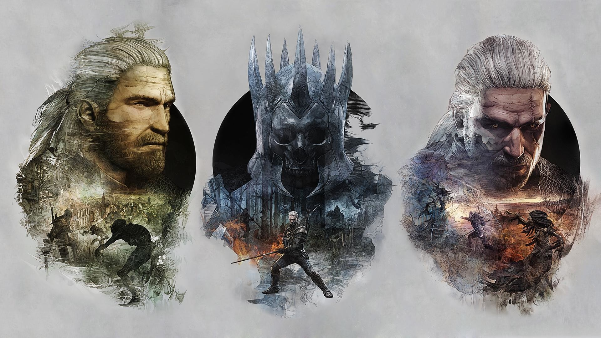 Another Witcher 3 Wallpaper I Made By Combining The Remaining 3 Steelbook  Covers From the Collector's Edition [1920×1080] …