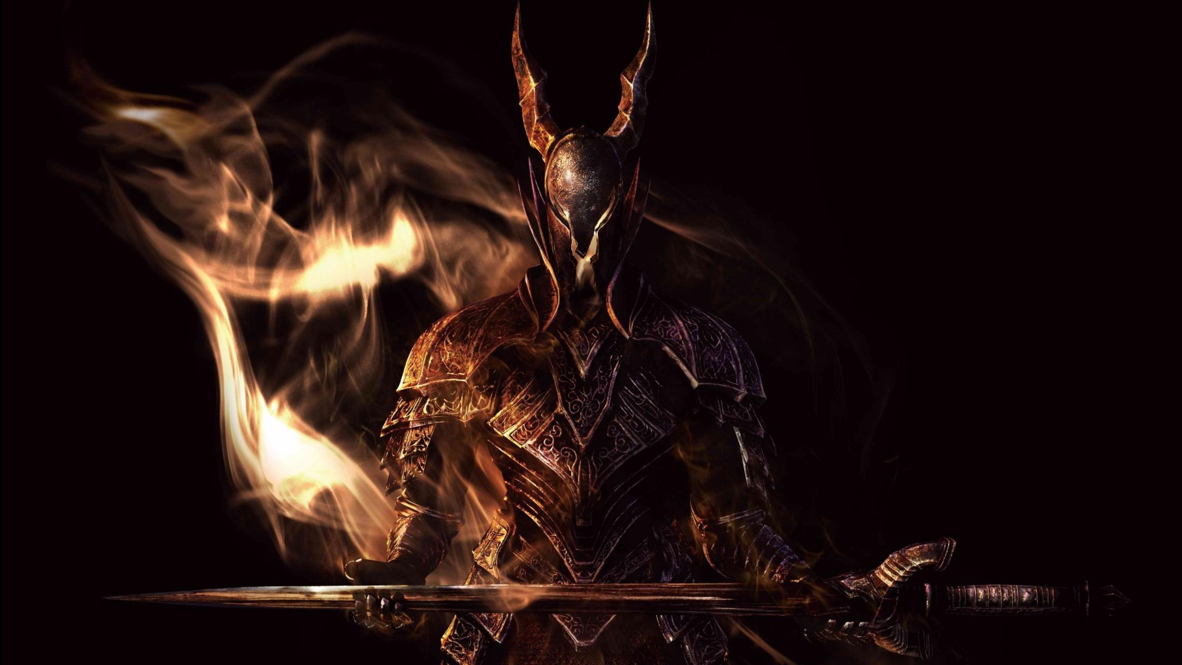 Preview wallpaper dark souls, sword, armor, look, smoke 3840×2160