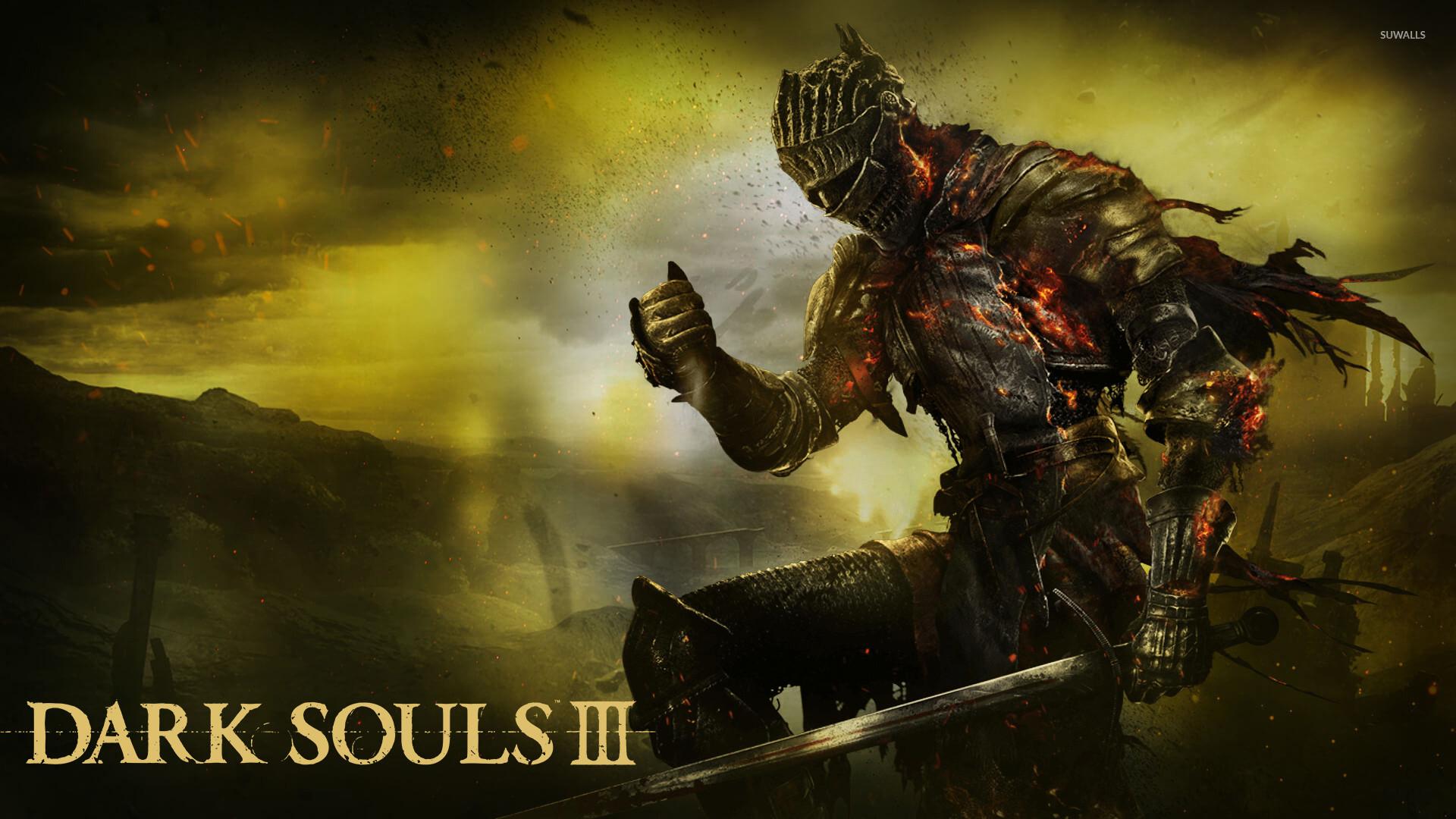 Knight on fire in Dark Souls III wallpaper jpg