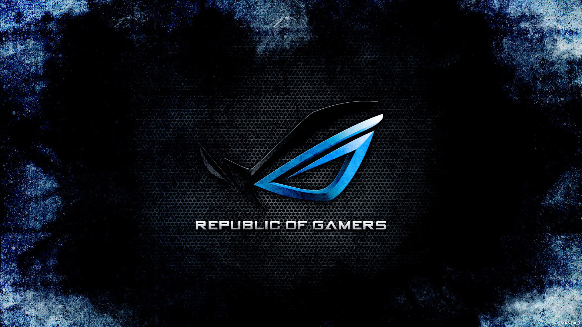 rog (republic of gamers) logo dark blue hd. 1080p wallpaper .
