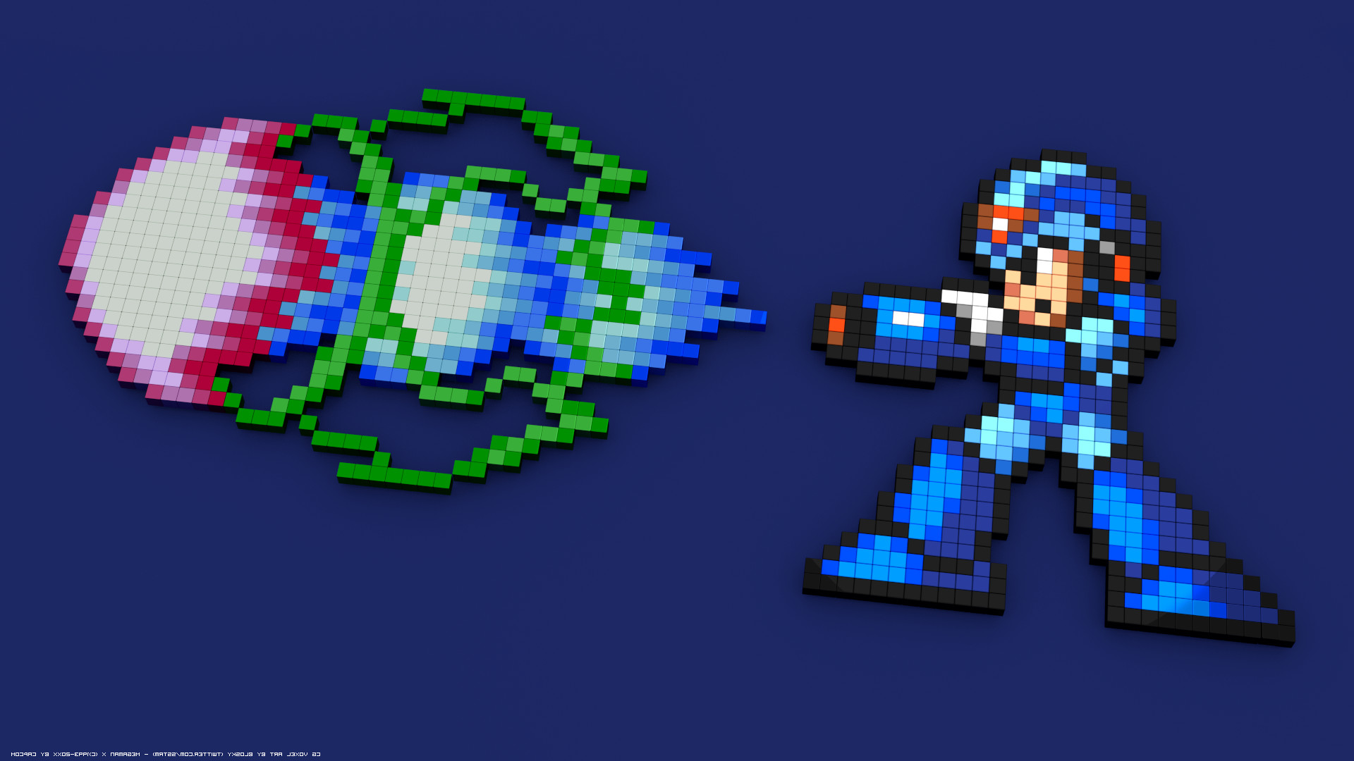 Megaman X, 16 bit, 8 bit, Pixelated, Pixel Art, 3D Blocks