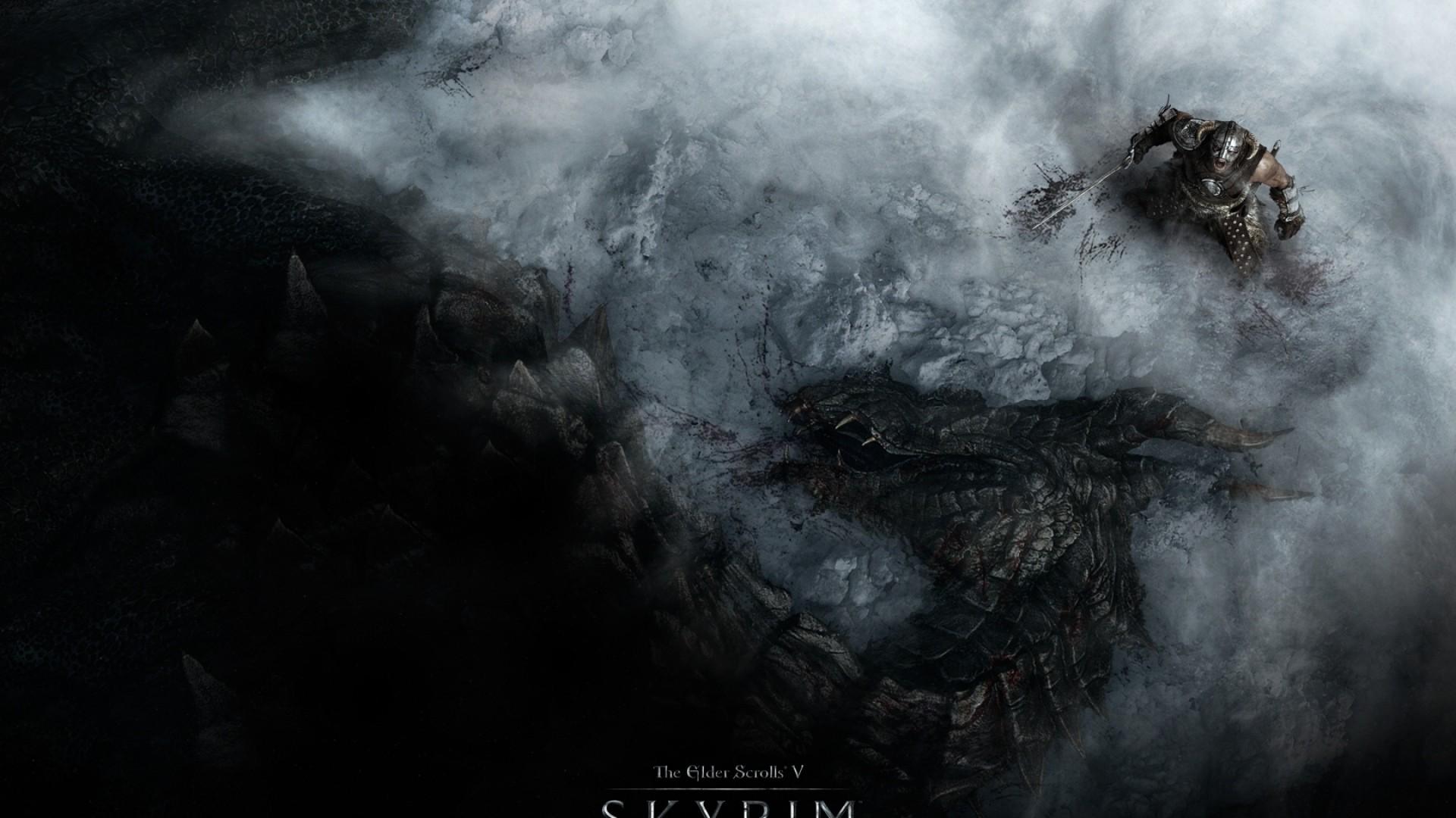 Wallpaper the elder scrolls skyrim, warrior, dragon, snow,  scream, look