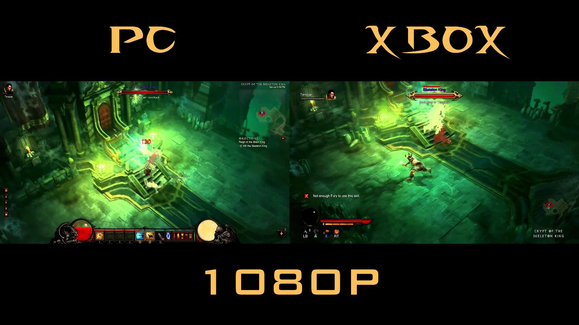 … wallpaper : pcmasterrace 0 HTML code. Diablo 3 Xbox 360 vs PC Skeleton  King Comparison side by side .