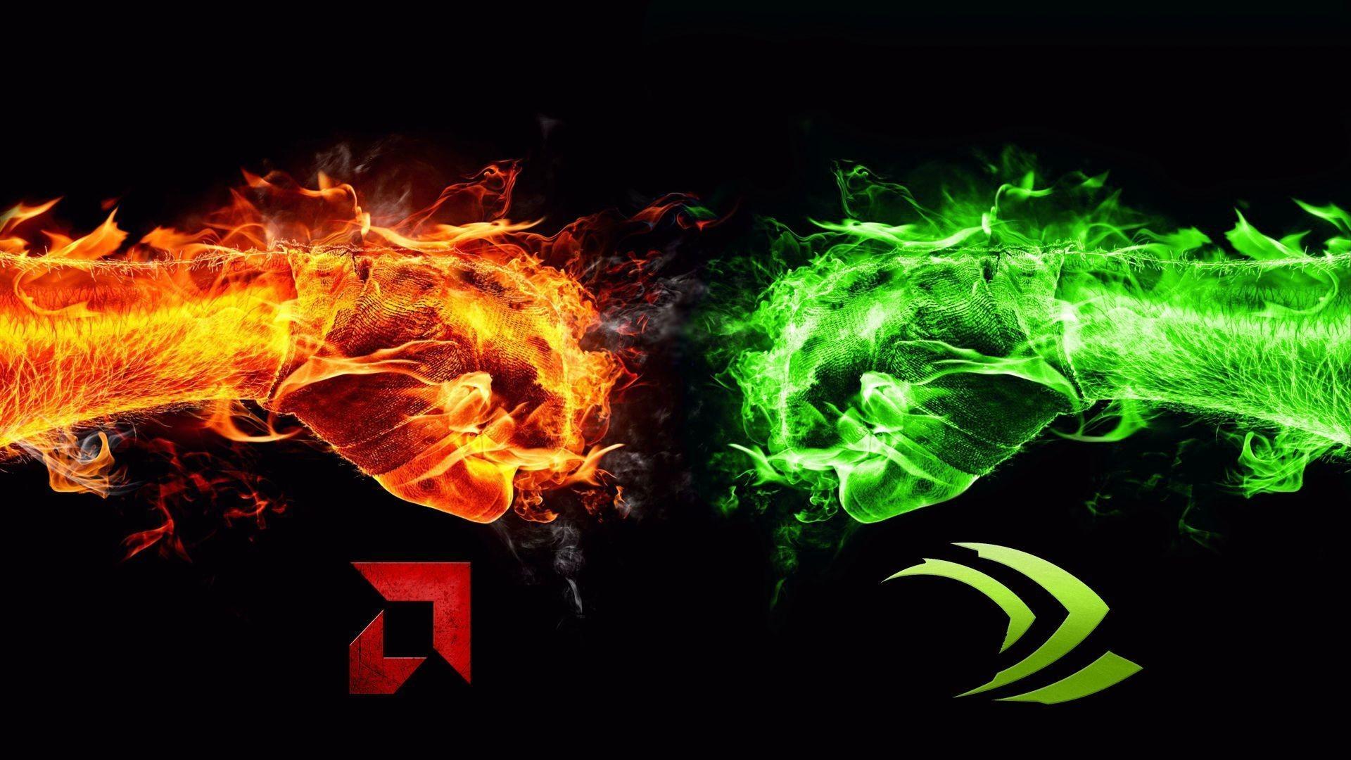 Nvidia VS AMD Wallpaper I made : pcmasterrace