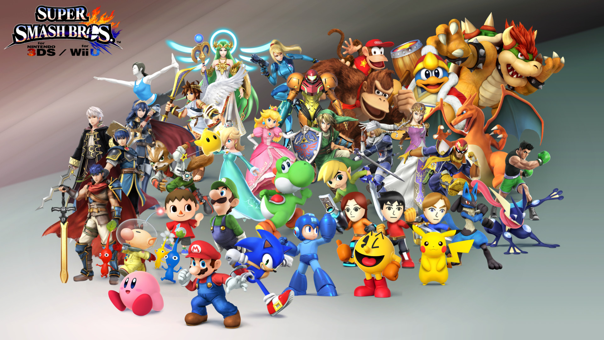 SSB4Made a 1920 x 1080 Smash Bros 4 wallpaper featuring every character  confirmed so far. Will update as the remaining characters are revealed.