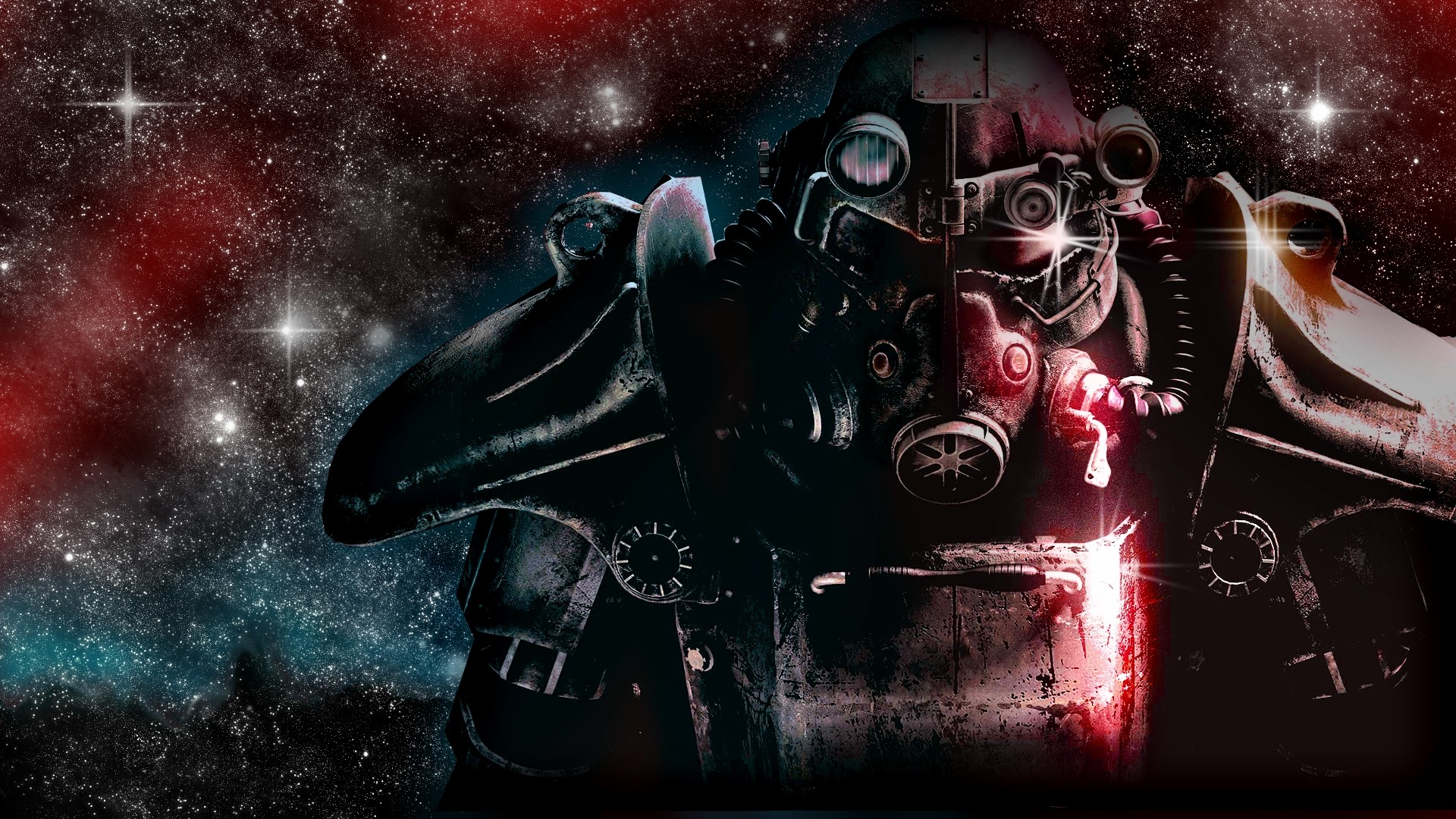 Preview wallpaper fallout, space, stars, look, character 1920×1080