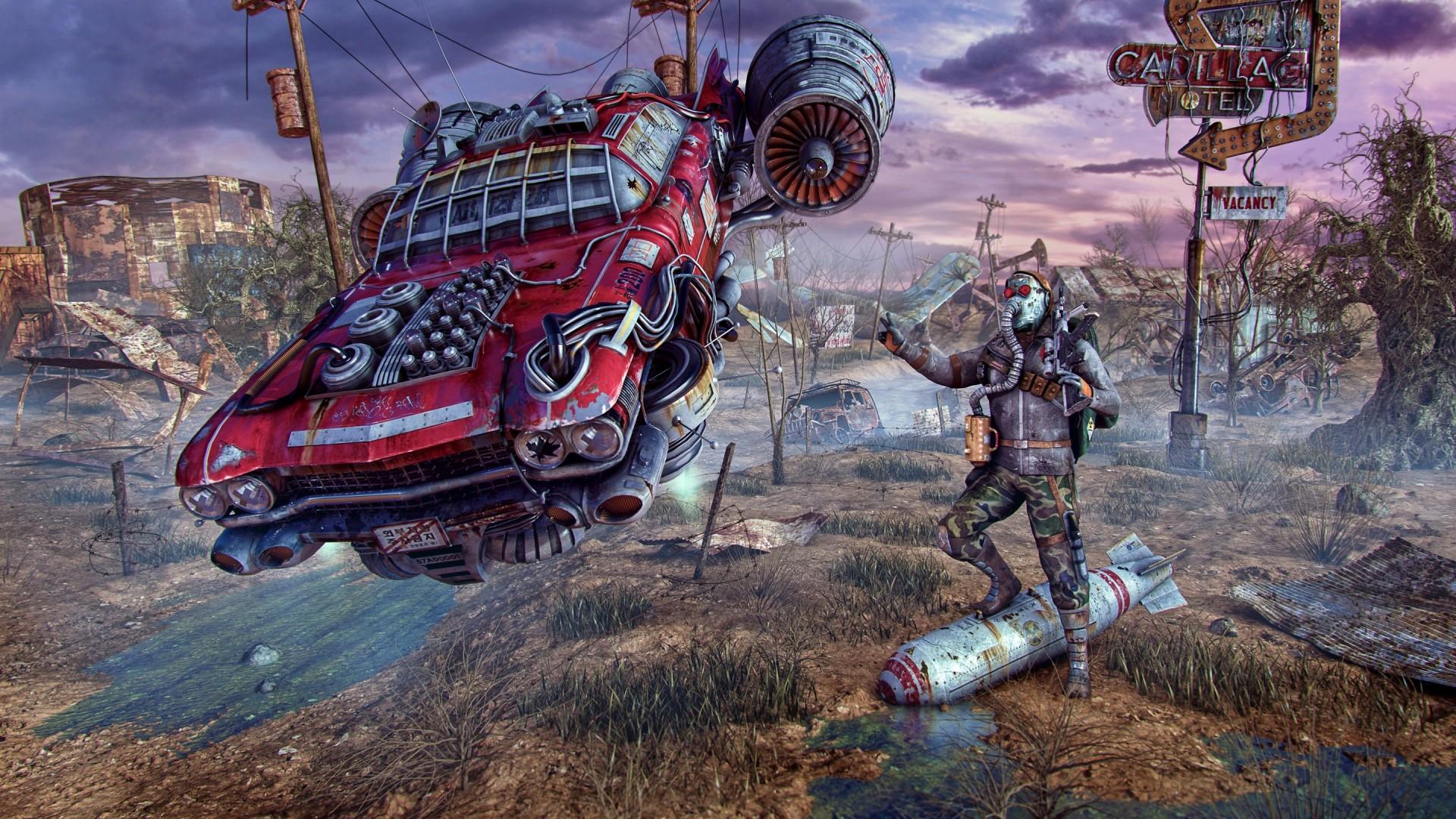 Wallpaper fallout, wasteland, cars, flight, art