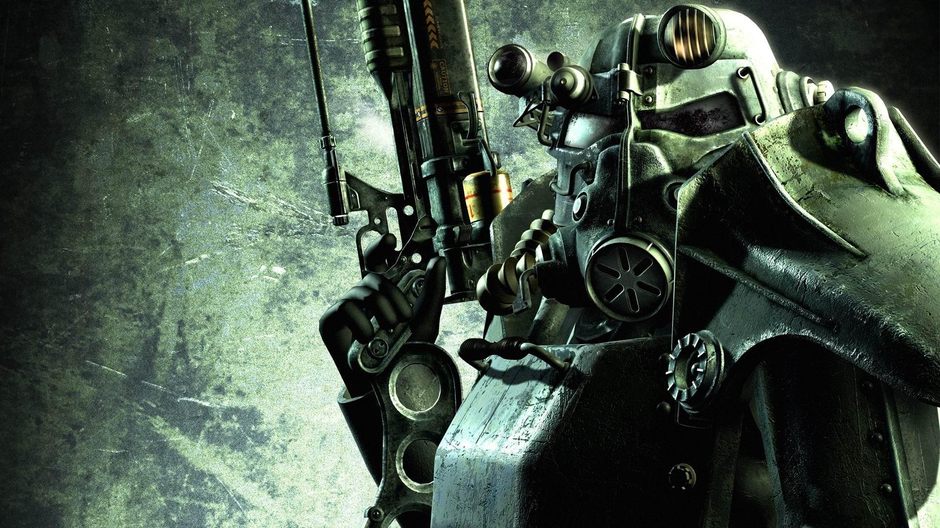 Wallpaper fallout, gun, soldier, equipment