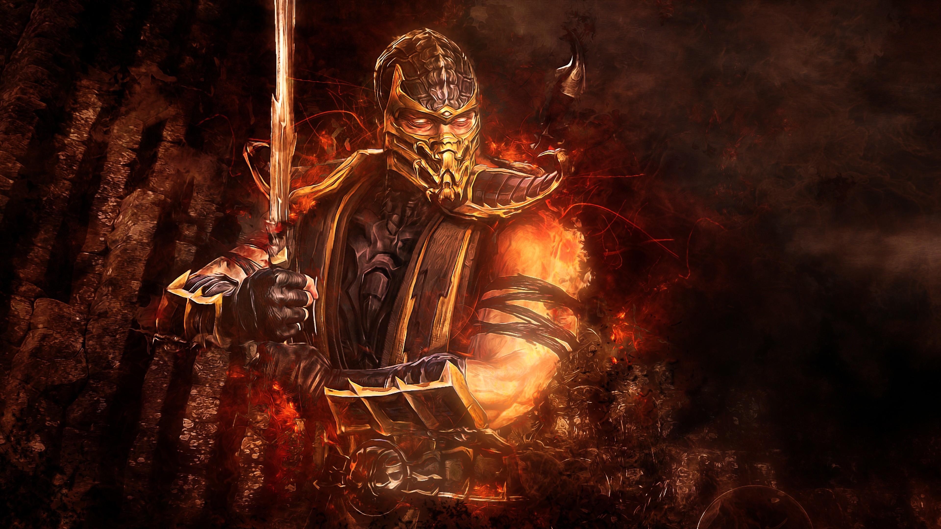 Preview wallpaper mortal kombat, scorpion, sword, abstraction, video game  3840×2160