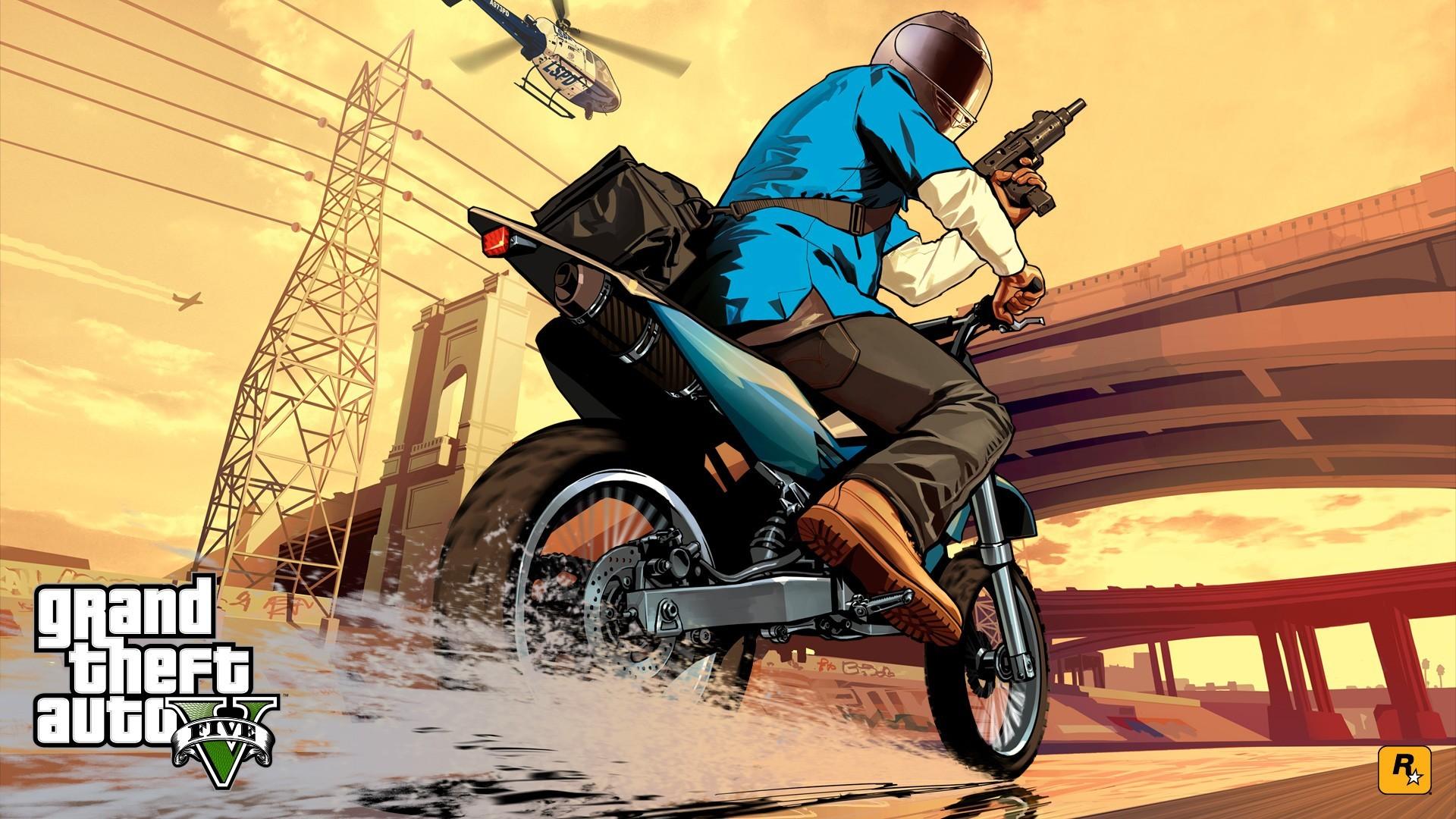 Wallpaper grand theft auto v, gta, rockstar games, motorcycle