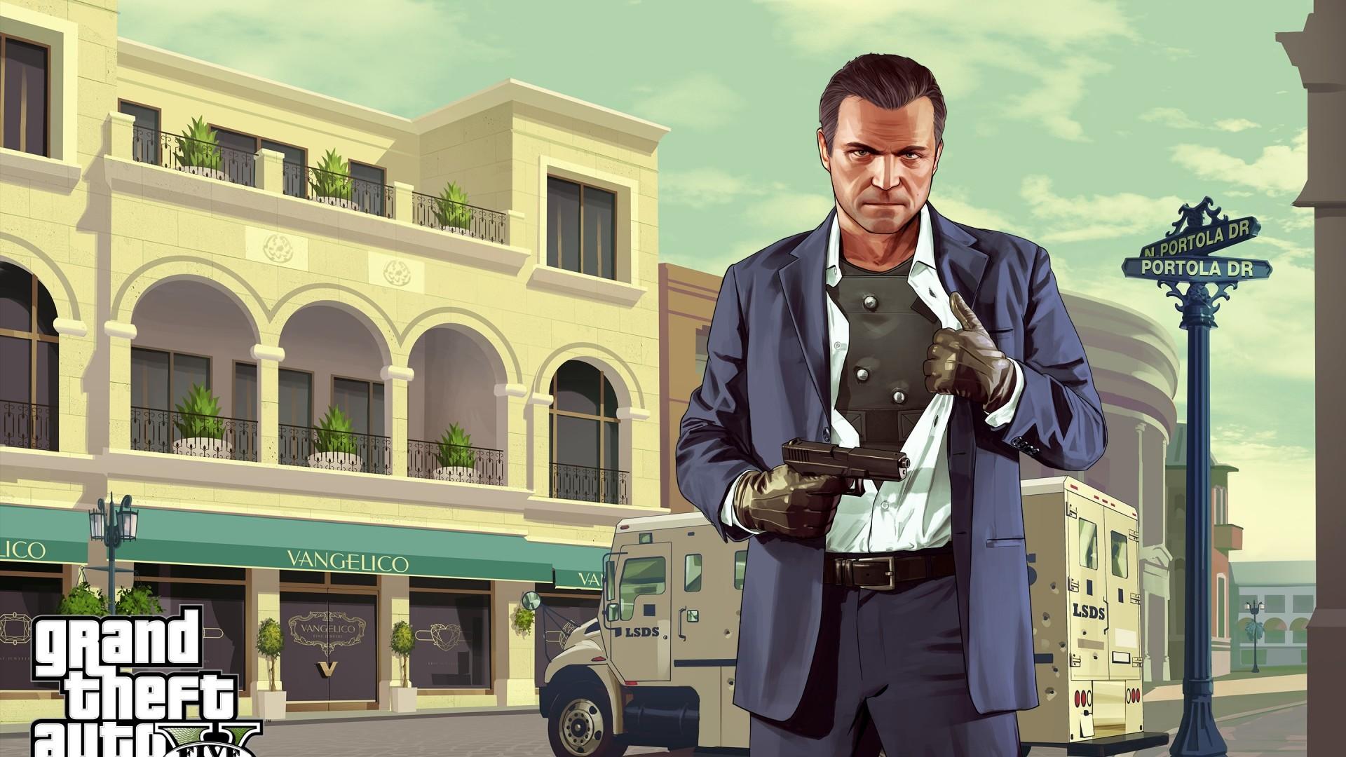 Wallpaper grand theft auto v, michael de santa, gta, art