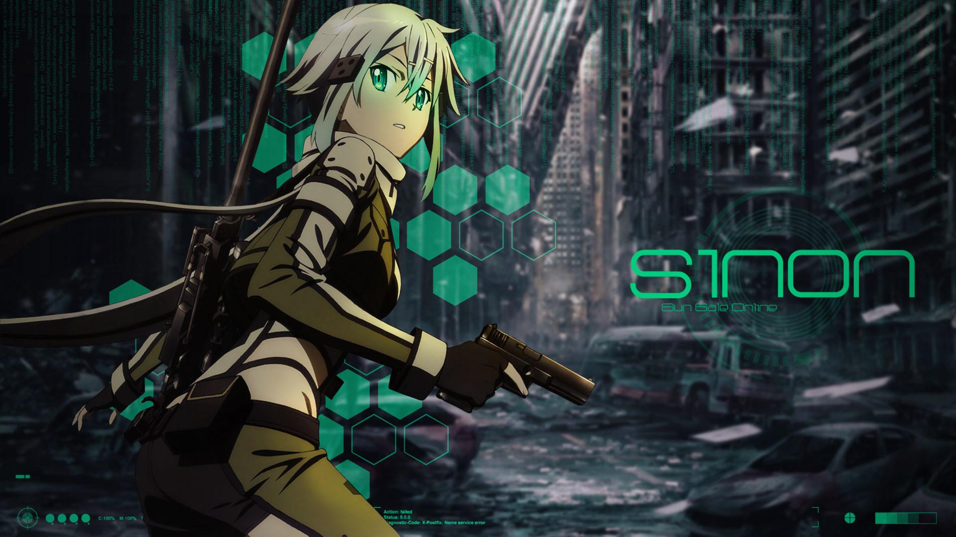 Amazing Sinon Asada on dark background Wallpaper Sinon with pistol