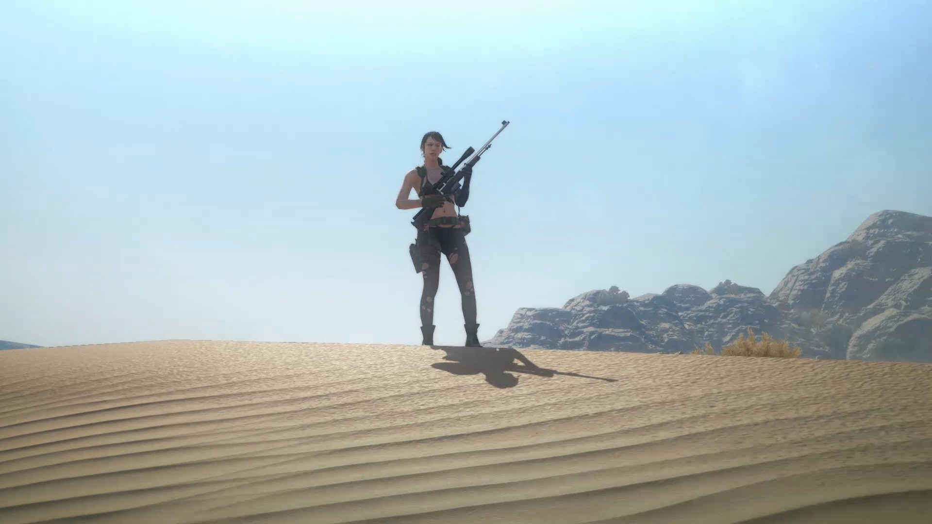 """Quiet, striking a pose in the desert as part of her """"Main character  standing in the distance looking cool"""" class for Mother Base."""