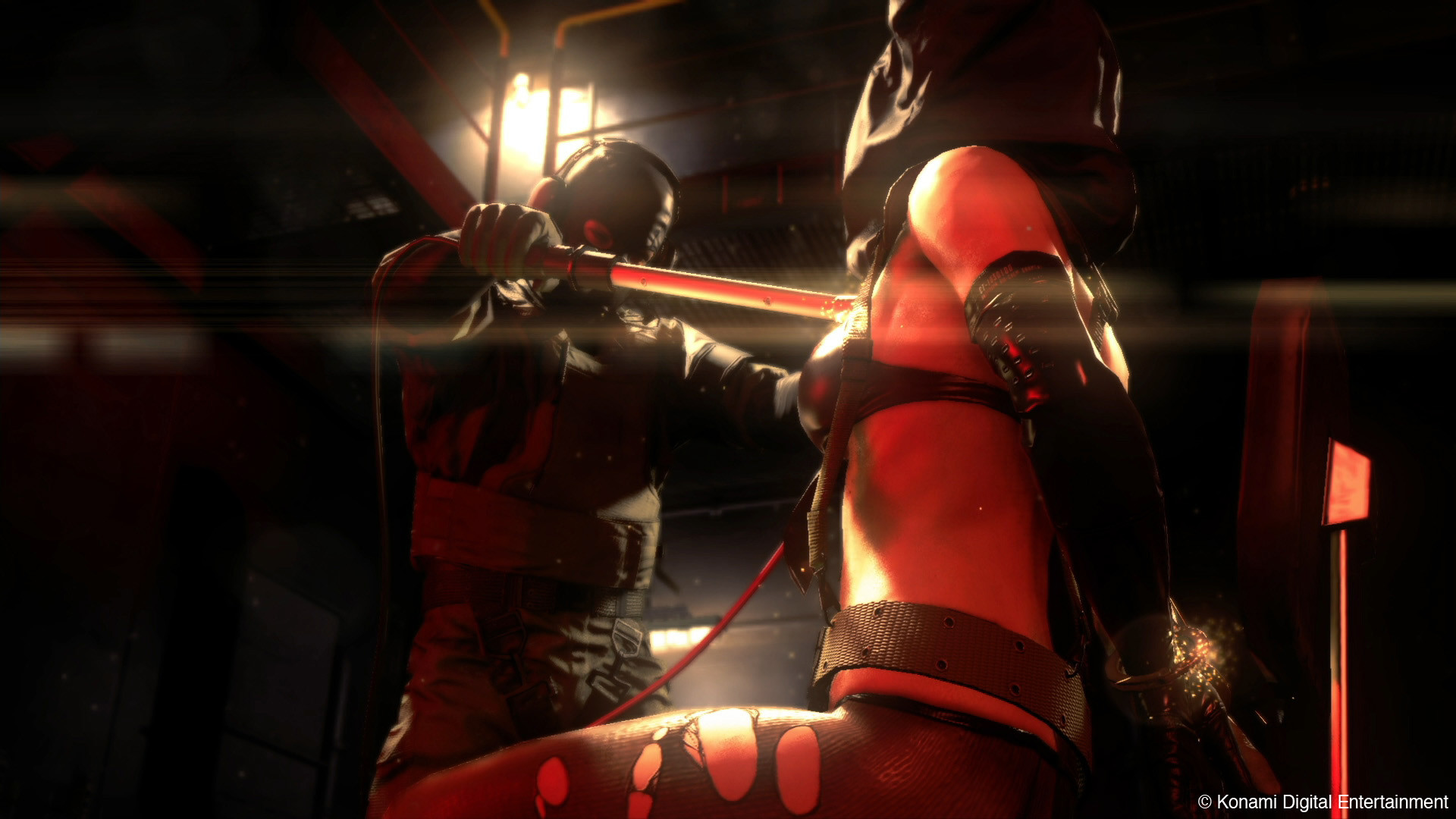 Diamond Dogs Soldier Torturing Quiet with Electrocution Rods: Here