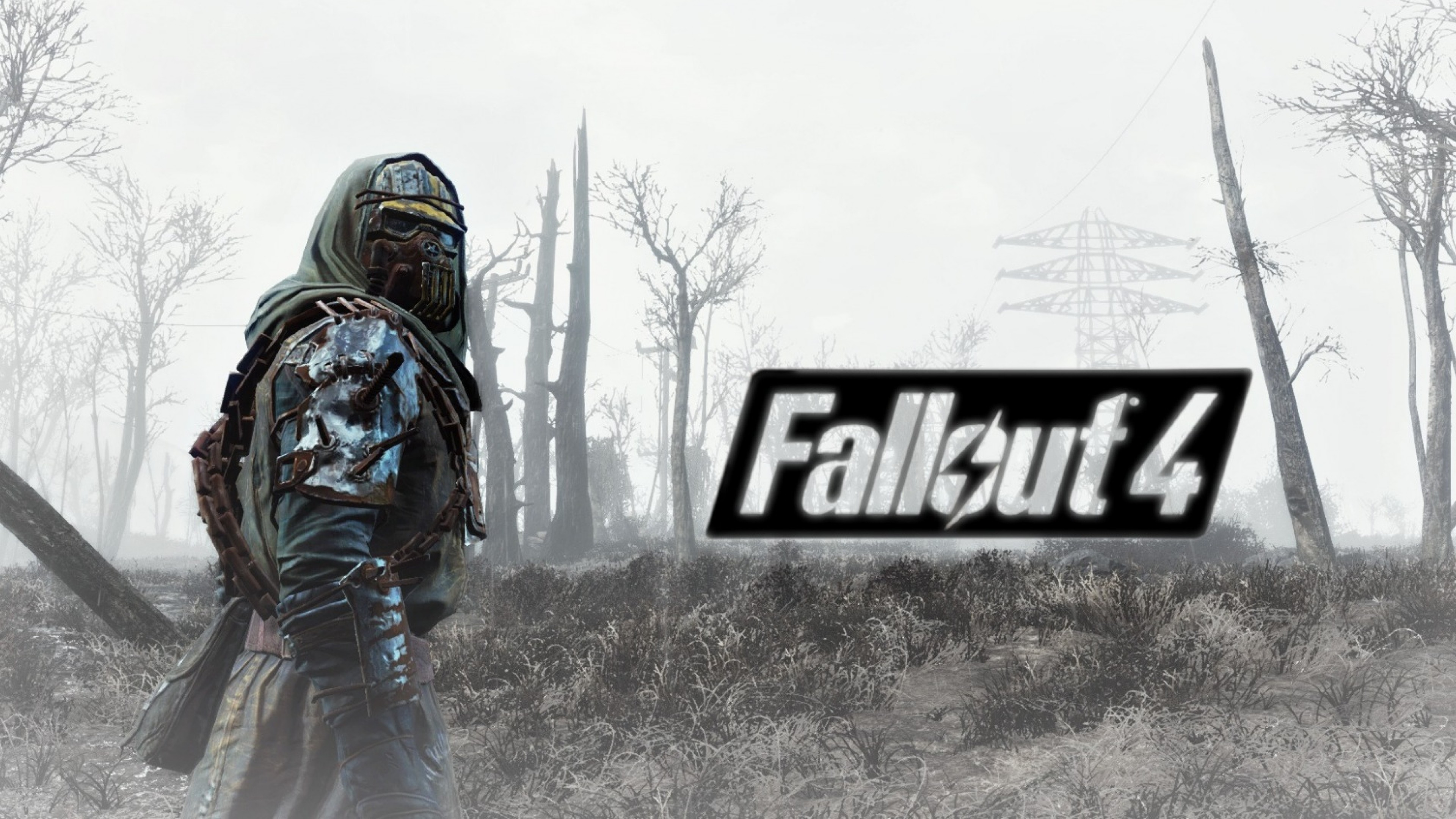 Preview wallpaper fallout 4, armor, soldier, field 3840×2160