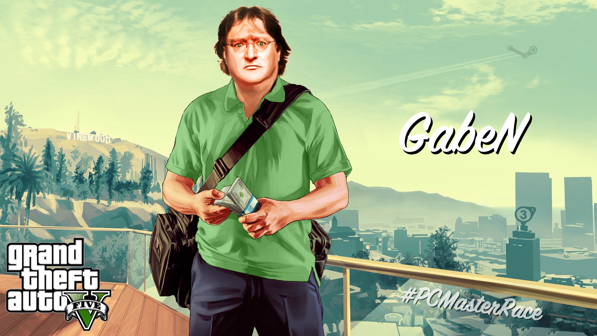 I Made a Glorious GabeN GTA 5 Wallpaper for All of You! (1920×1080)