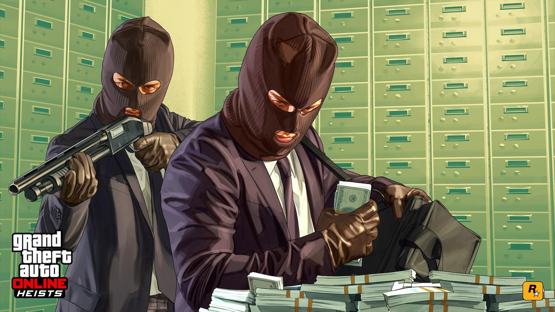Wallpaper grand theft auto v, grand theft auto online, rockstar  games, heists