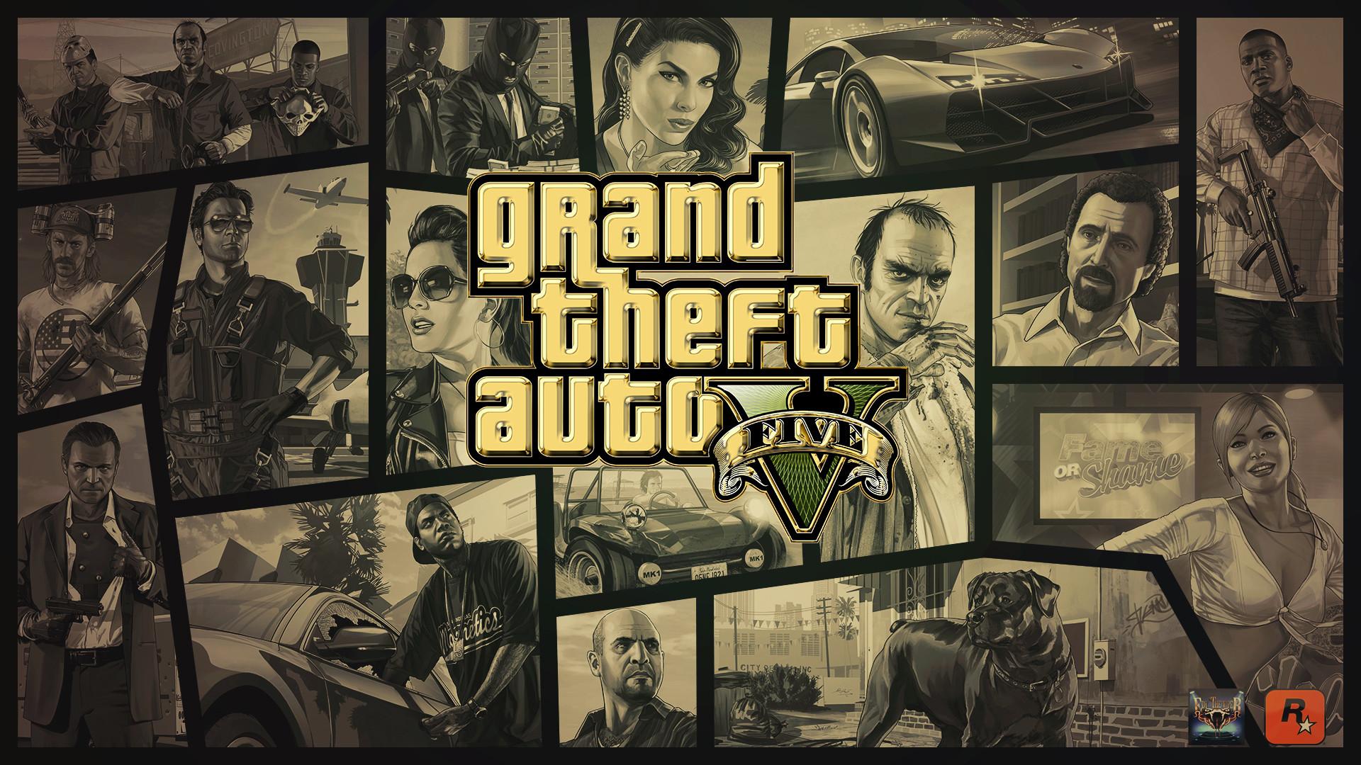 … Grand Theft Auto V Gold Logo Wallpaper by eduard2009
