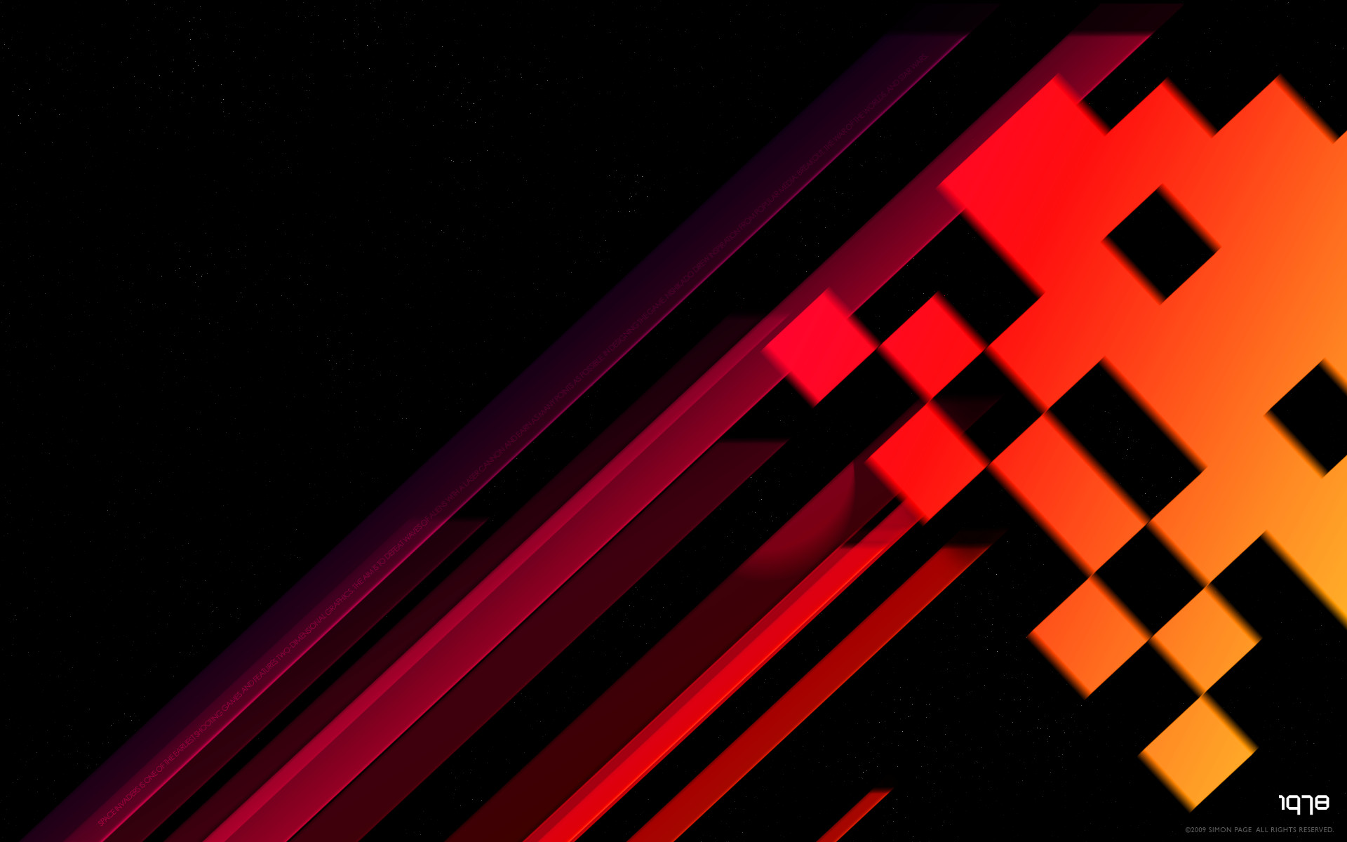 Old school retro Space Invaders desktop wallpaper by Simon Page