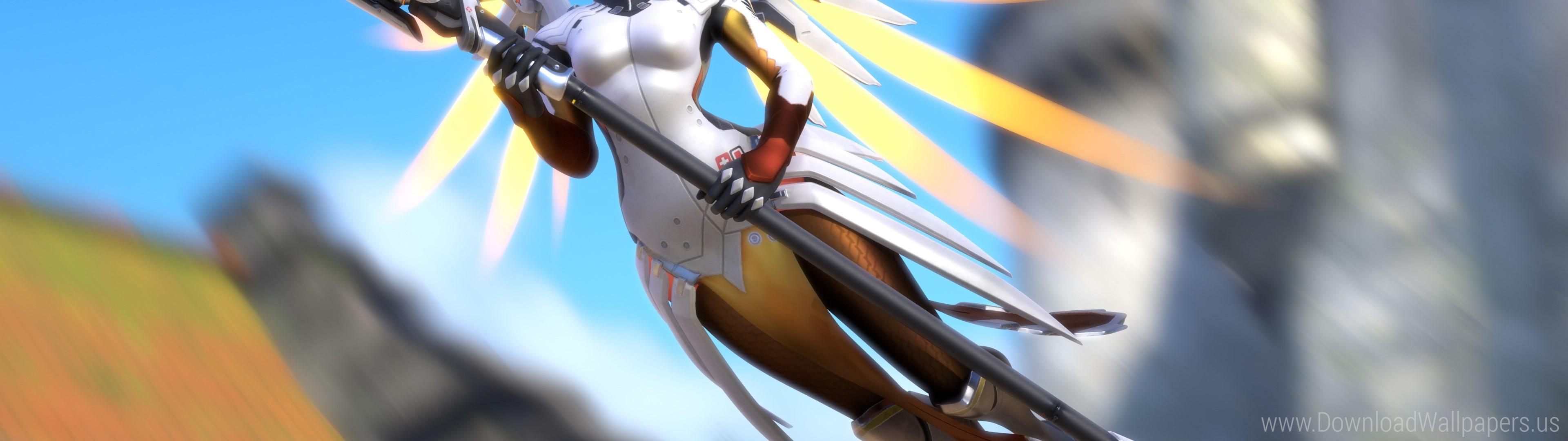 Download Dual Screen Wide – Artwork, Mercy, Overwatch Wallpaper