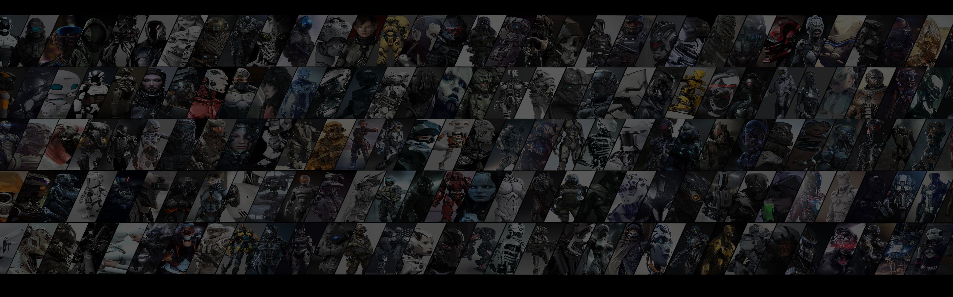 … Dual Monitor 3D Artwork Montage Wallpaper by DarkXess