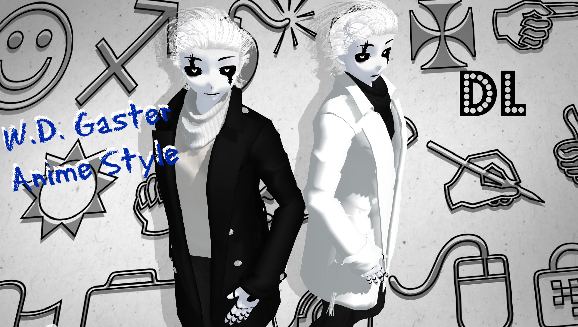 … UNDERTALE MMD W.D. Gaster Anime Style DL by Foxvinny-art