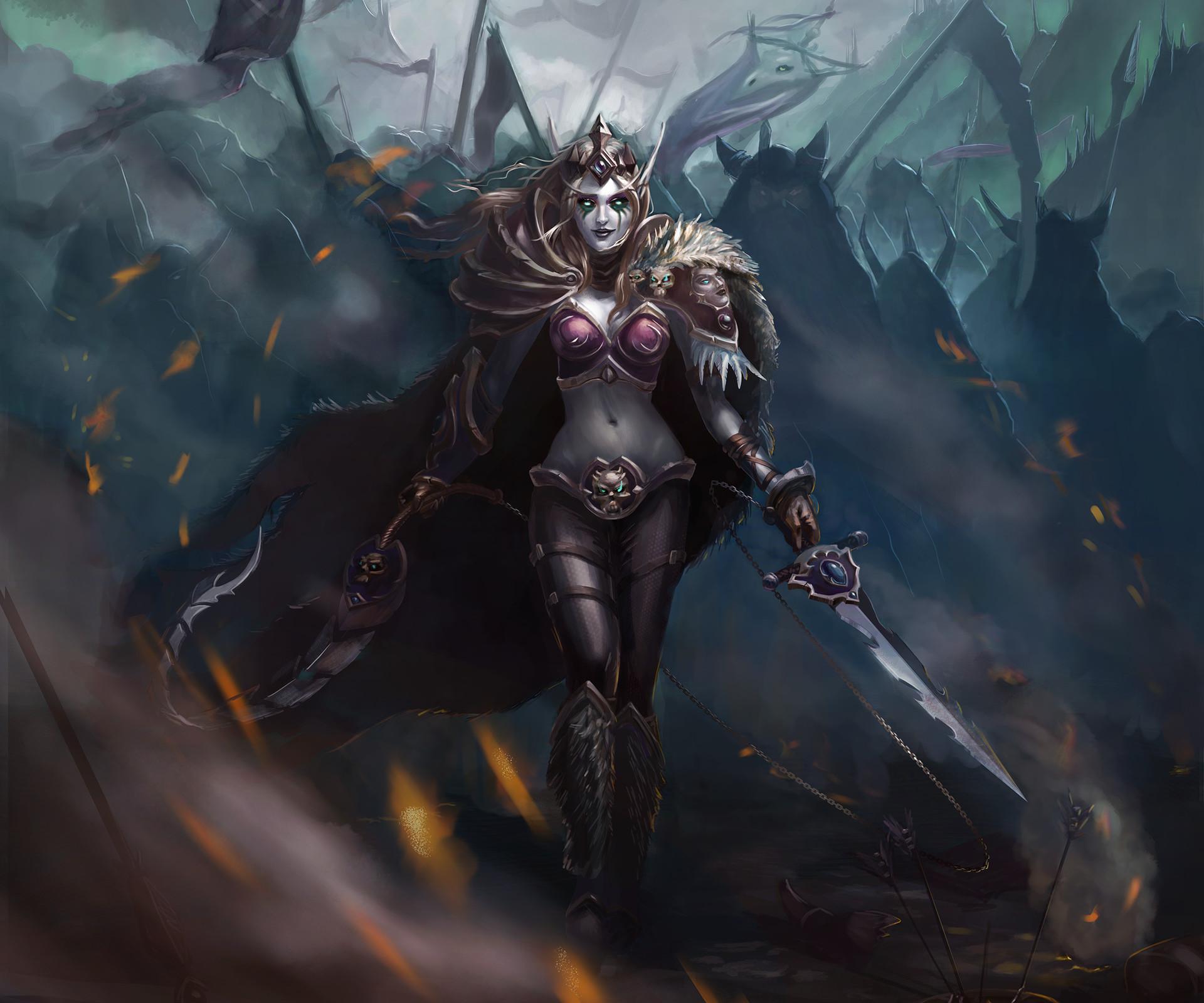 Video Game – World Of Warcraft Fantasy Woman Girl Woman Warrior Armor Sword Sylvanas  Windrunner Wallpaper