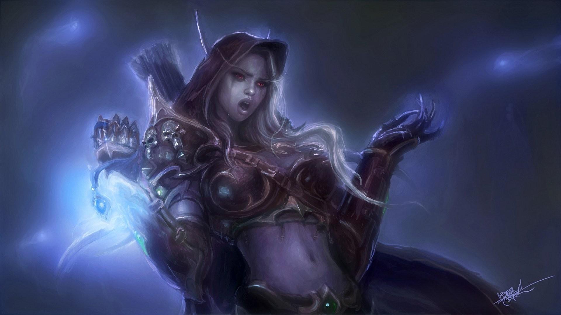 world of warcraft wow lady sylvanas windrunner elf armour magic boom tears