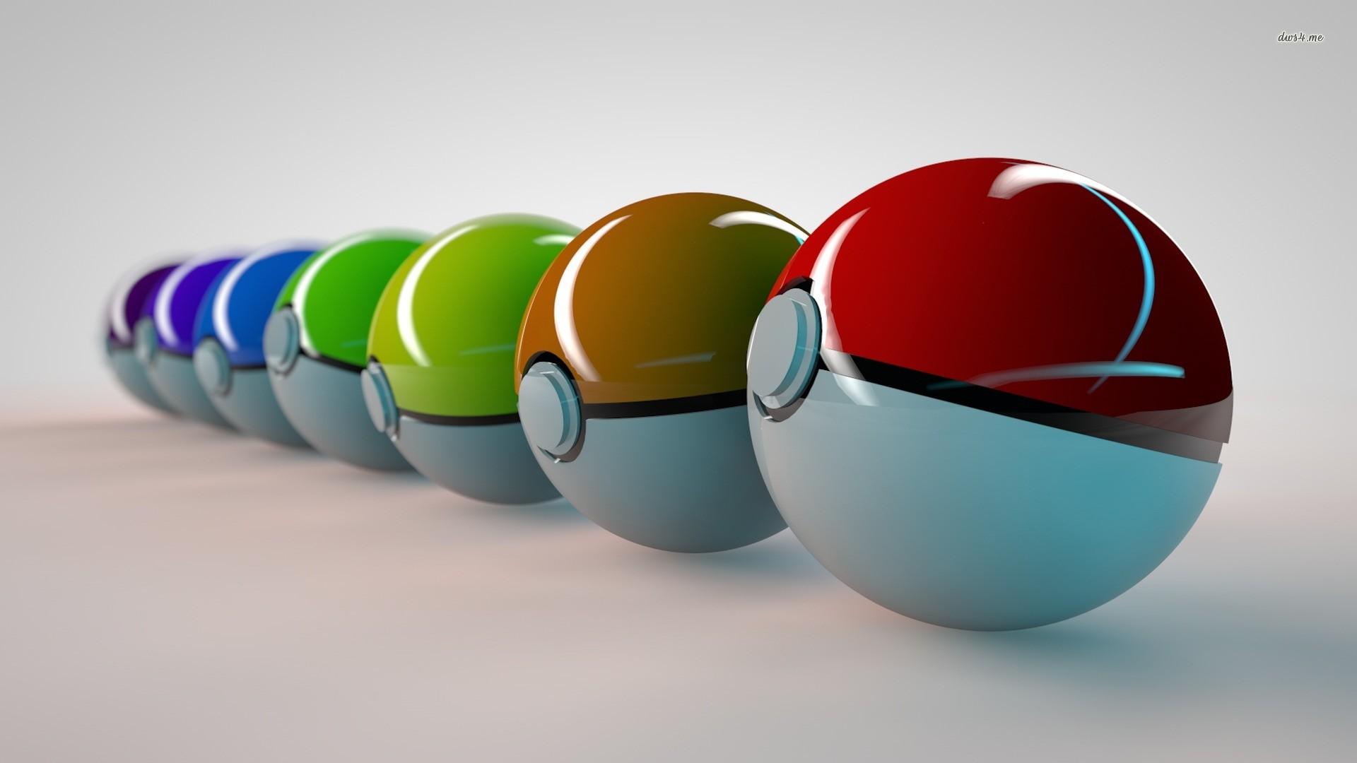 3D Pokeballs Wallpaper