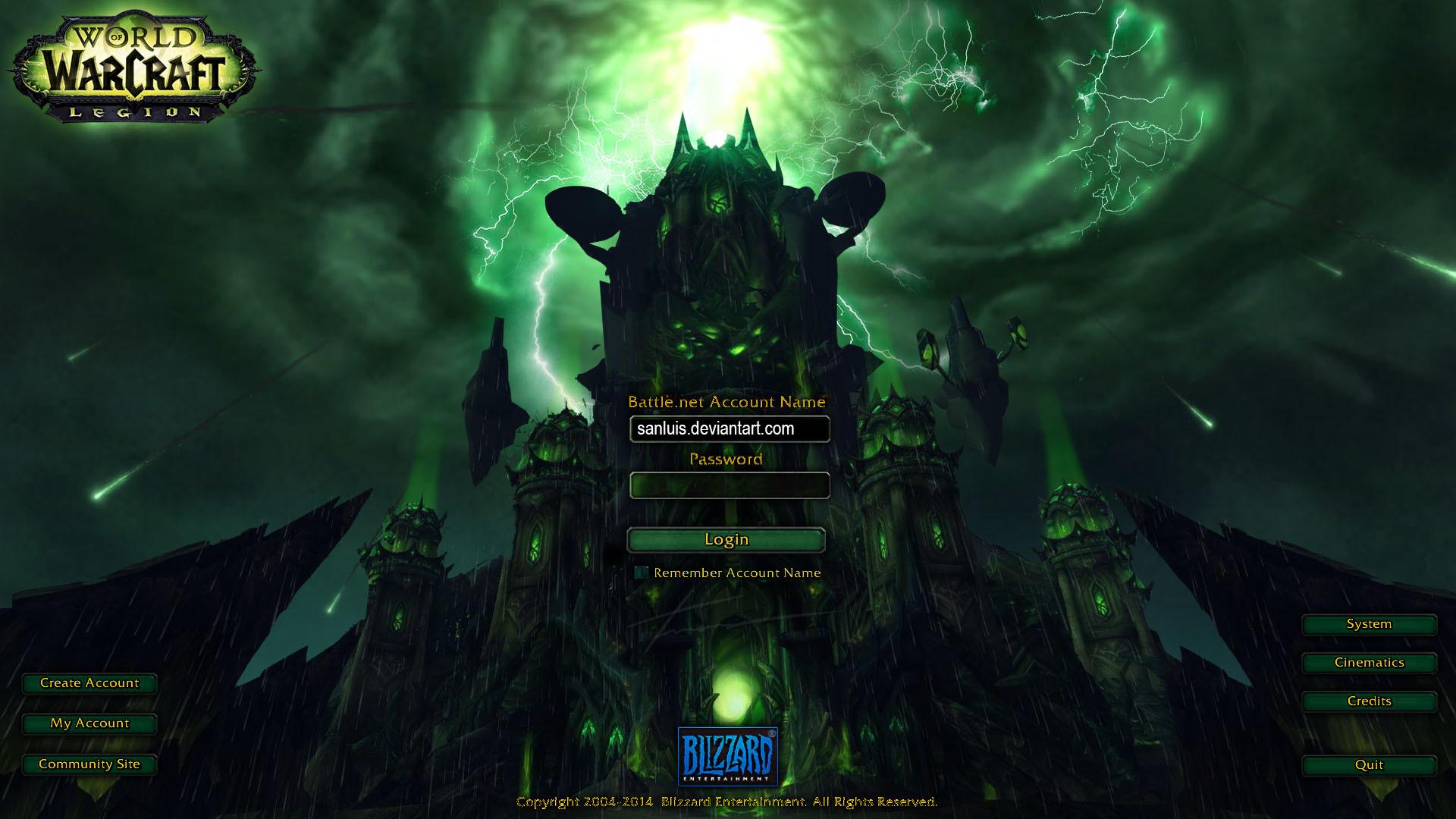 … Custom World of Warcraft: Legion Login Screen by sanluis