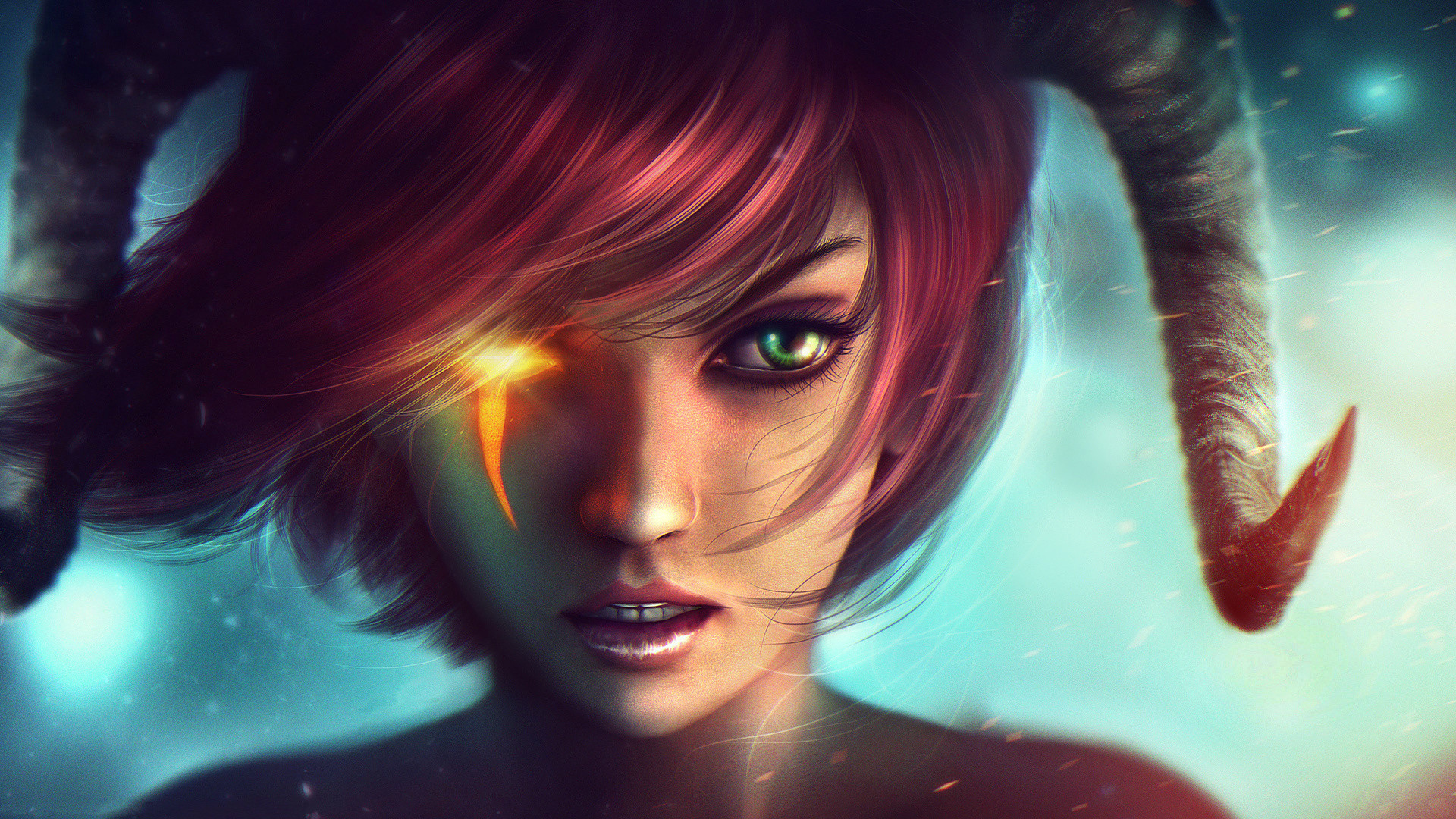 Preview wallpaper dungeons and dragons, girl, art, green eyes, horns,  fantasy