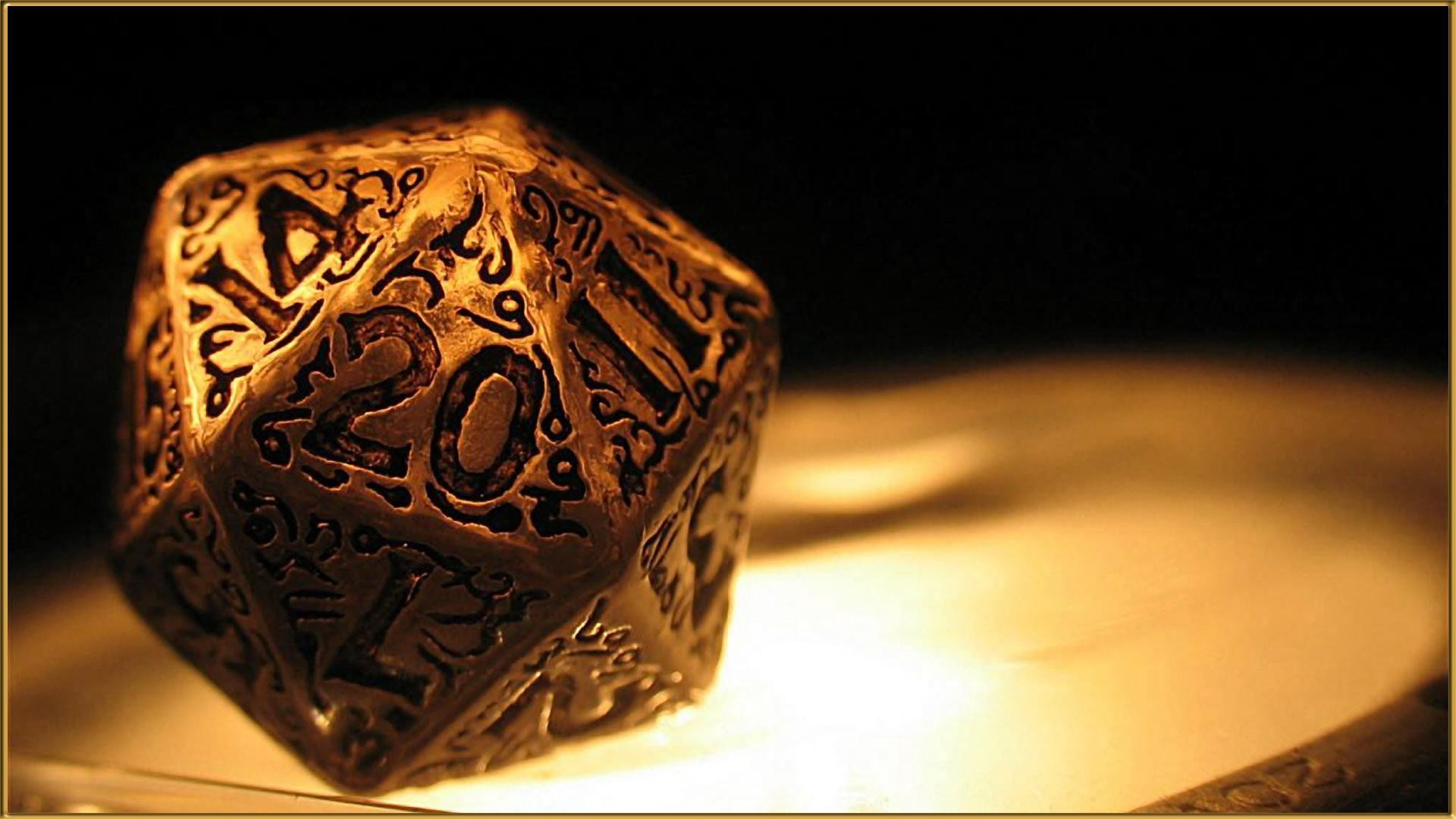 closeup, D20, Gold, Dungeons and Dragons, Dice, Numbers Wallpapers HD /  Desktop and Mobile Backgrounds