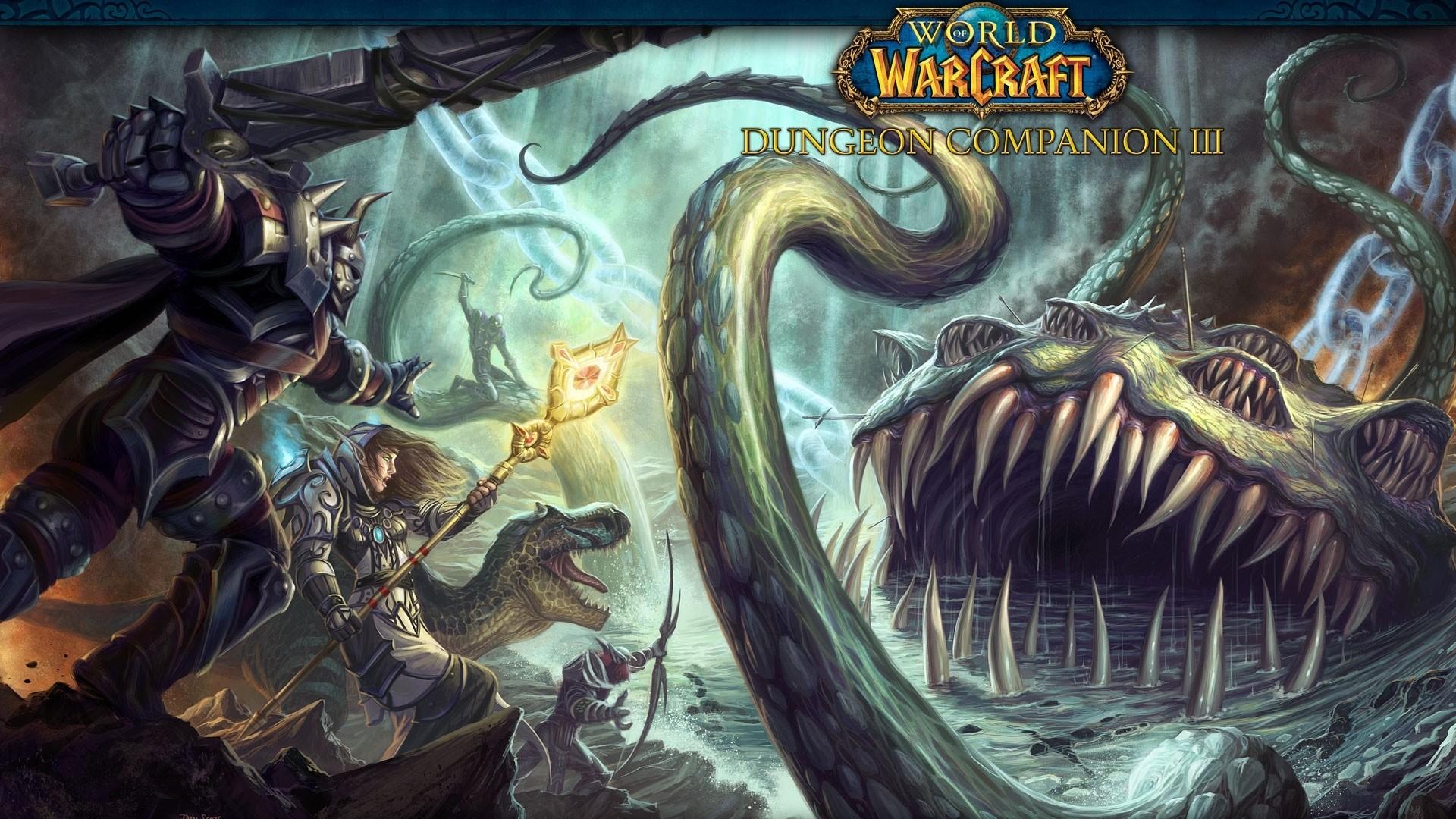 Wallpaper world of warcraft, dungeon copanion 3, monster, sword,  battle