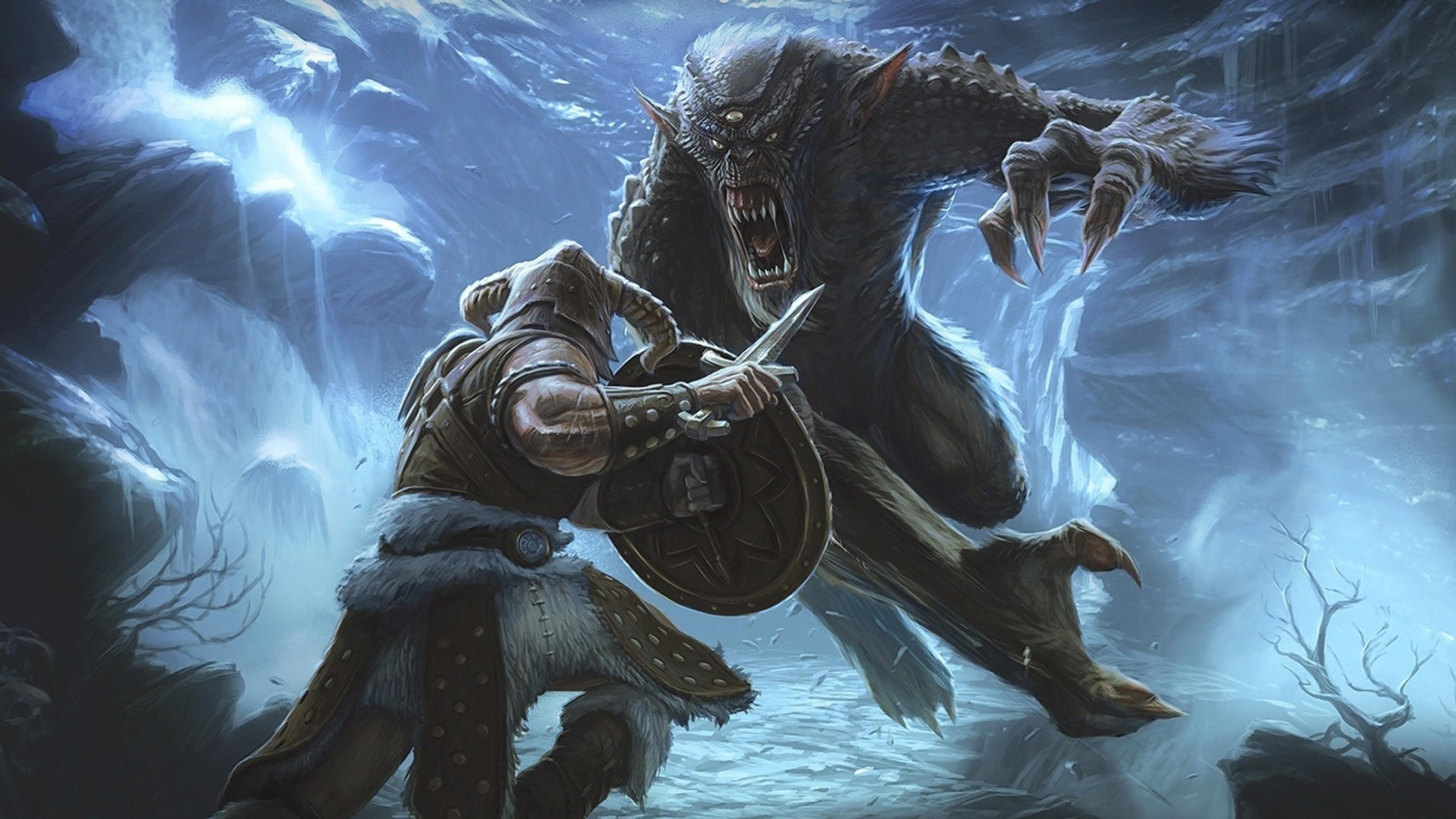 Wallpaper elder scrolls 5, skyrim, battle