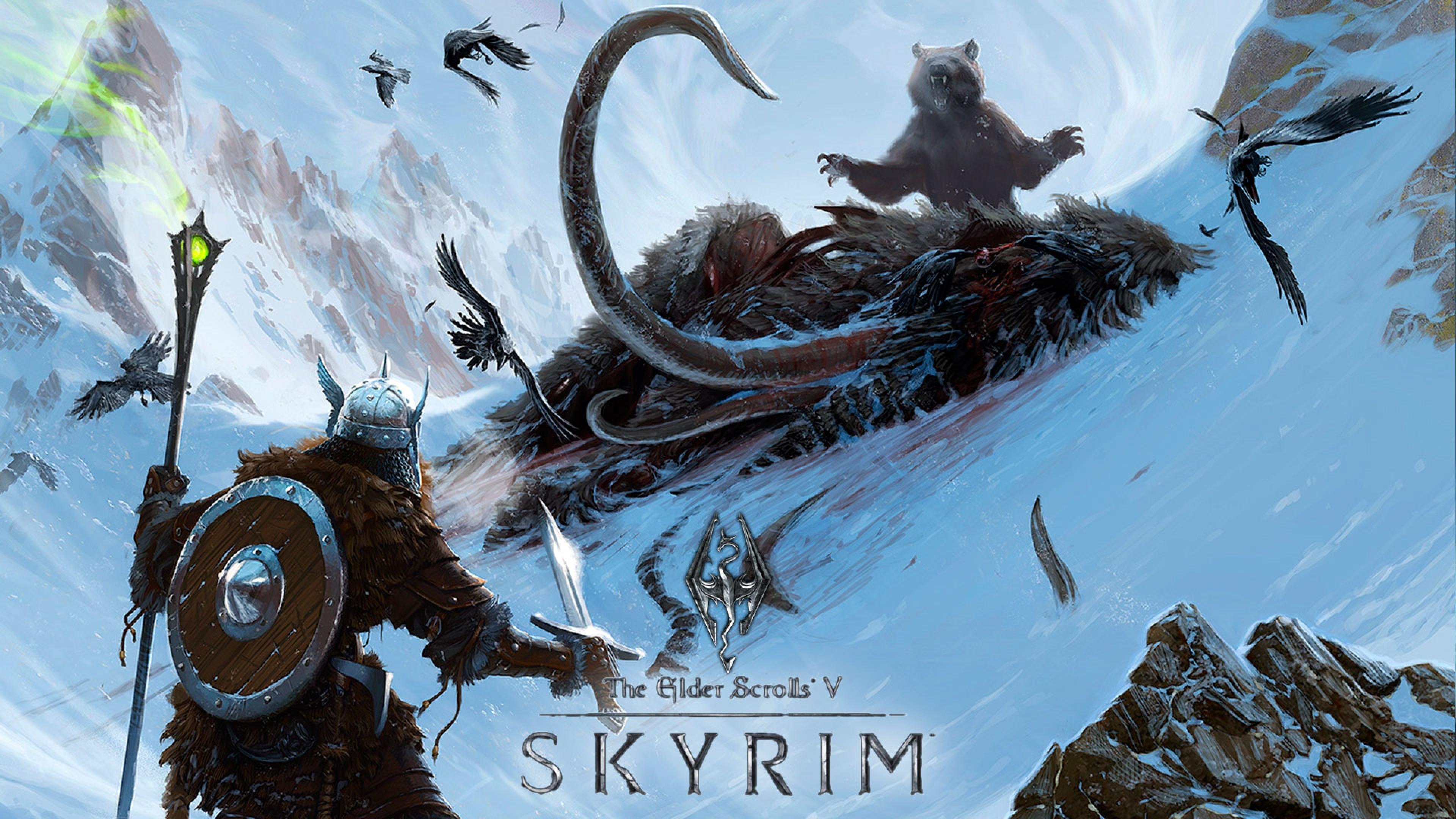 Wallpaper the elder scrolls skyrim, bear, mountain, staff, mammoth