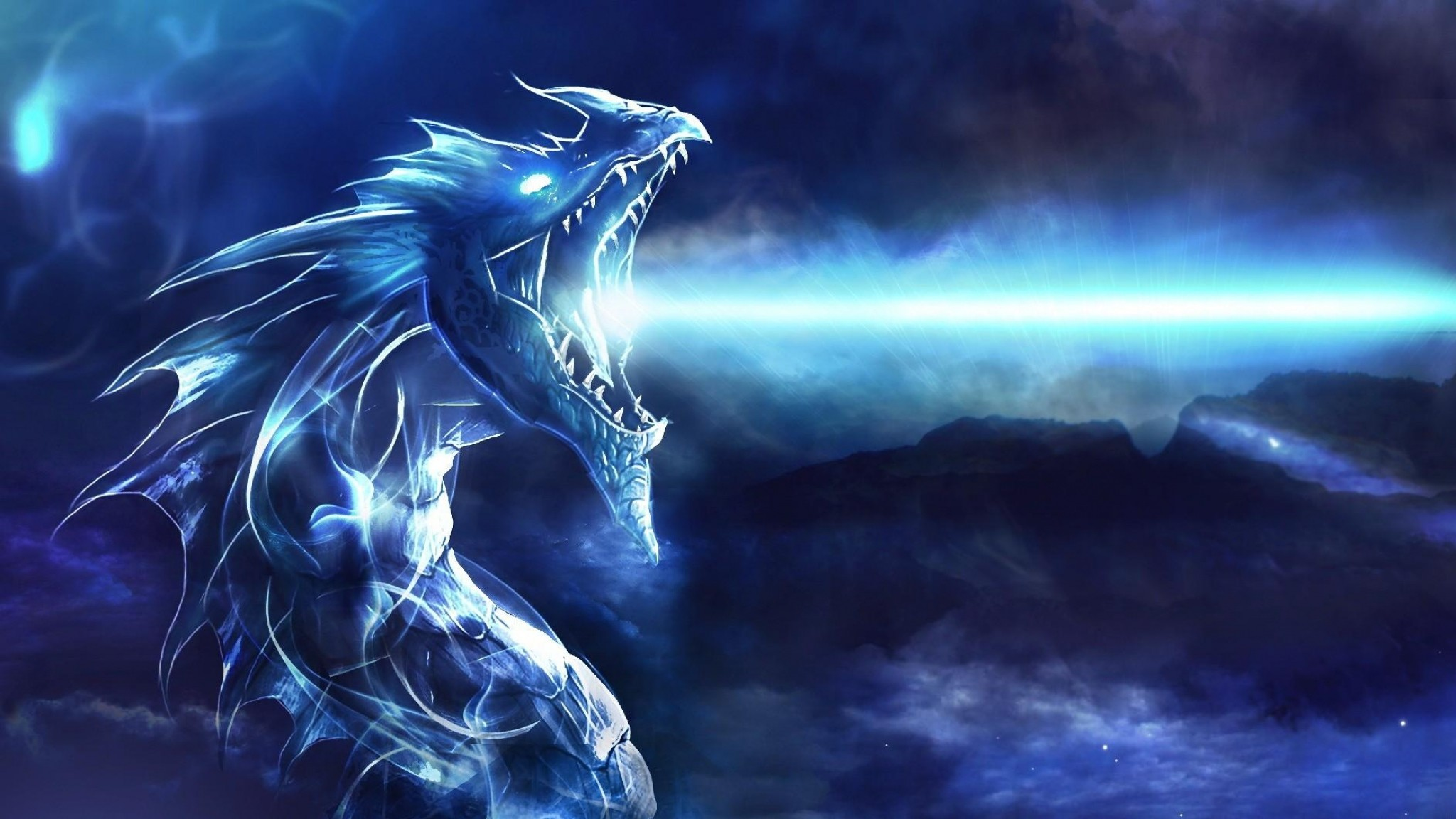 Preview wallpaper dragon, mouth, night, light 2048×1152