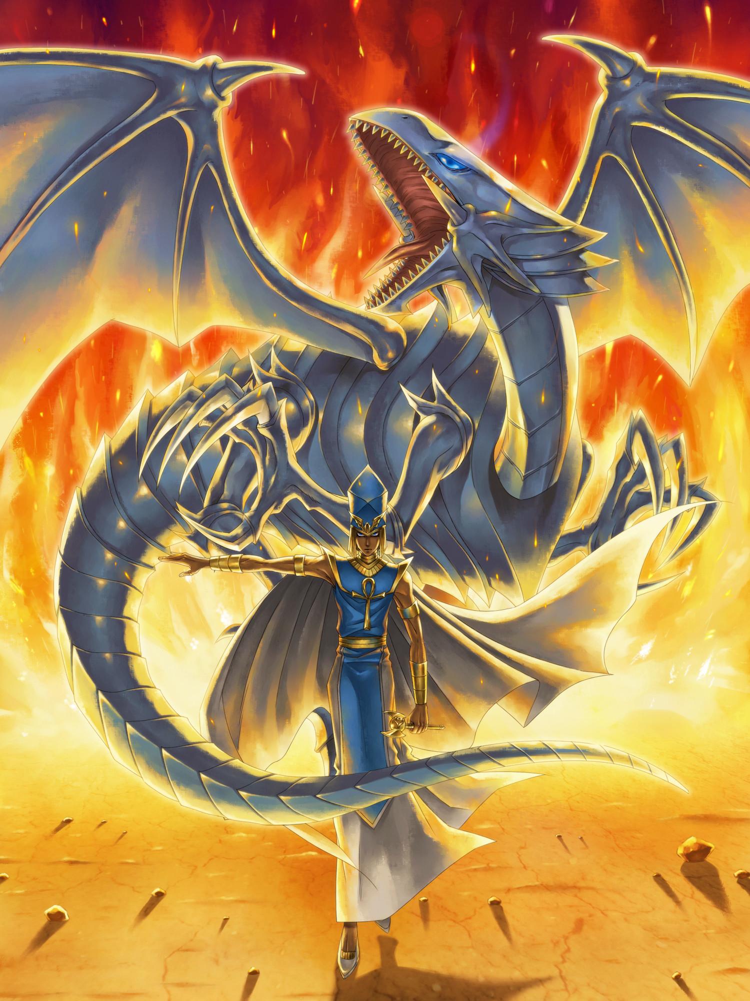 High priest Seto and his Blue-Eyes White Dragon.