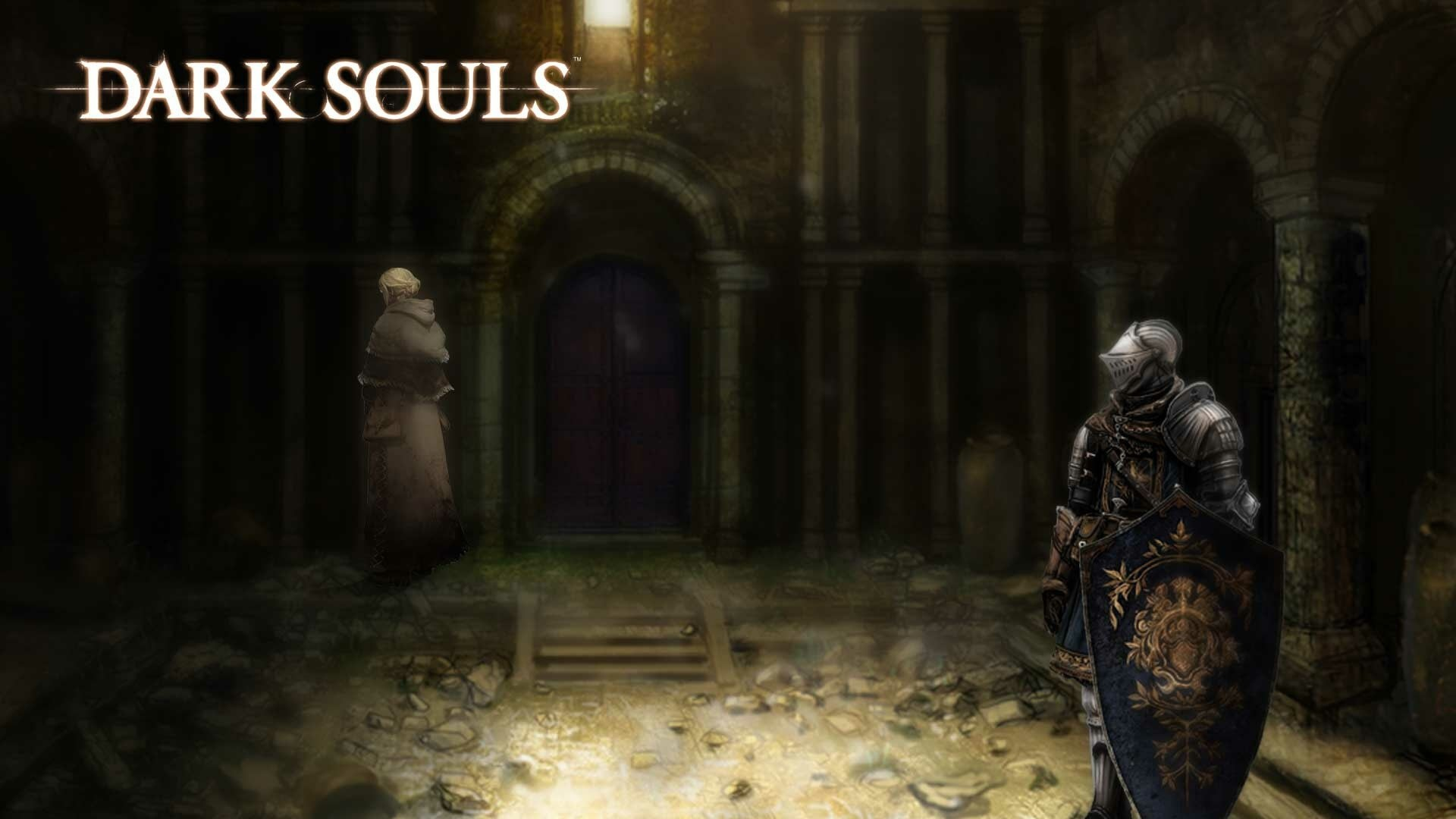 Preview wallpaper dark souls, knight, shield, helmet, armor 1920×1080