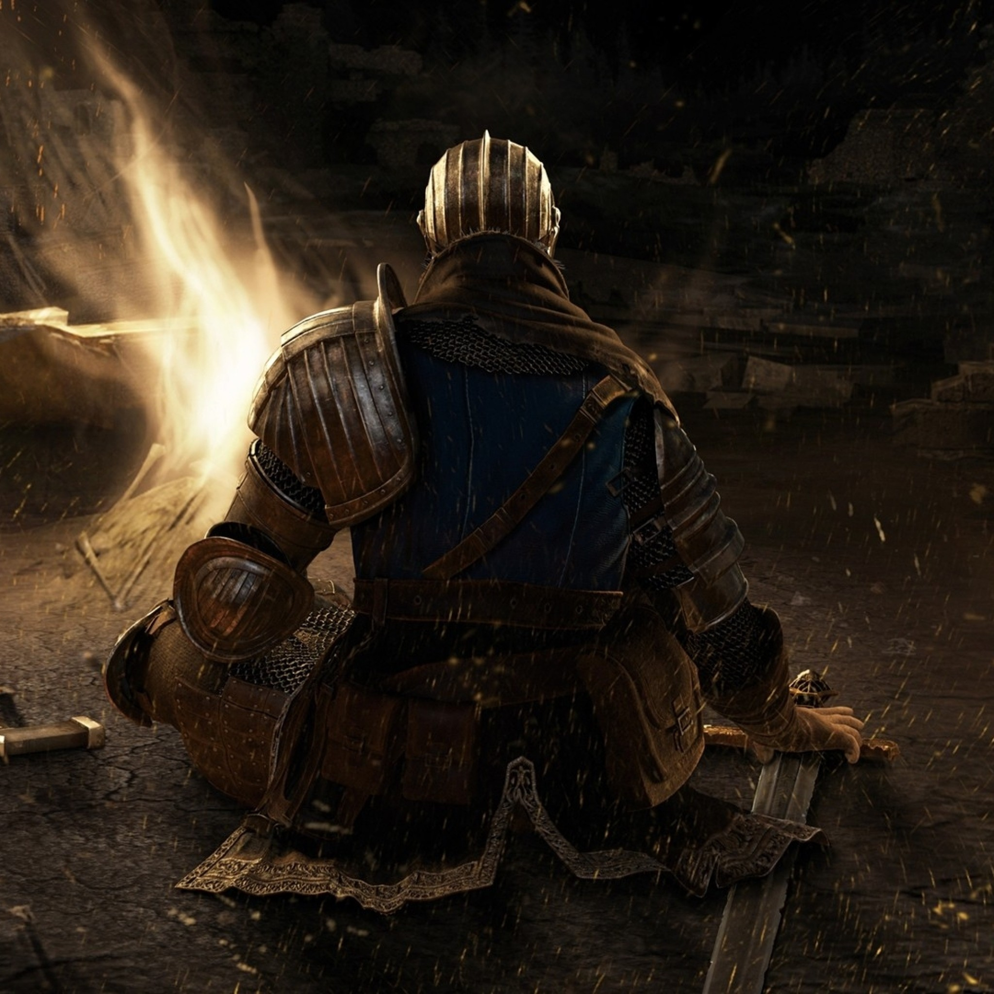 Preview wallpaper dark souls, bonfire, sword, character, relax 2048×2048