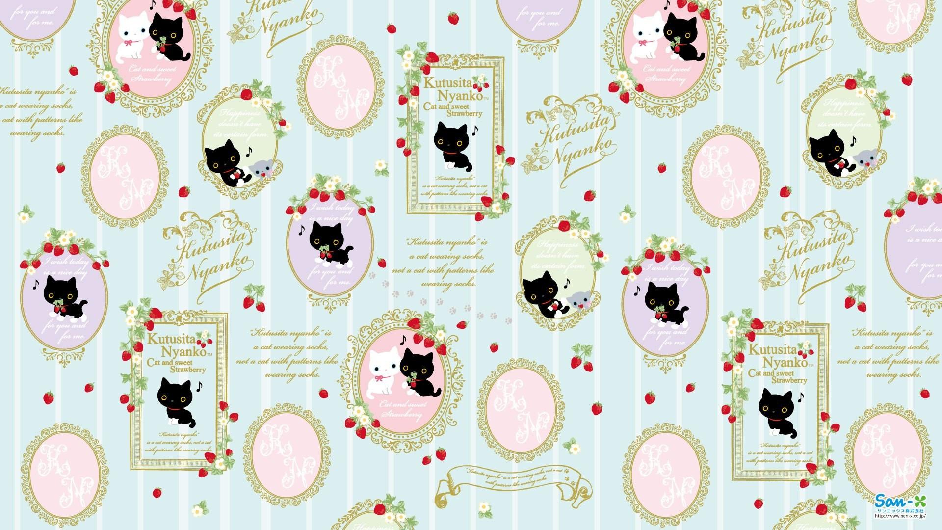 Kutusita Nyanko Cat and Strawberry Wallpaper