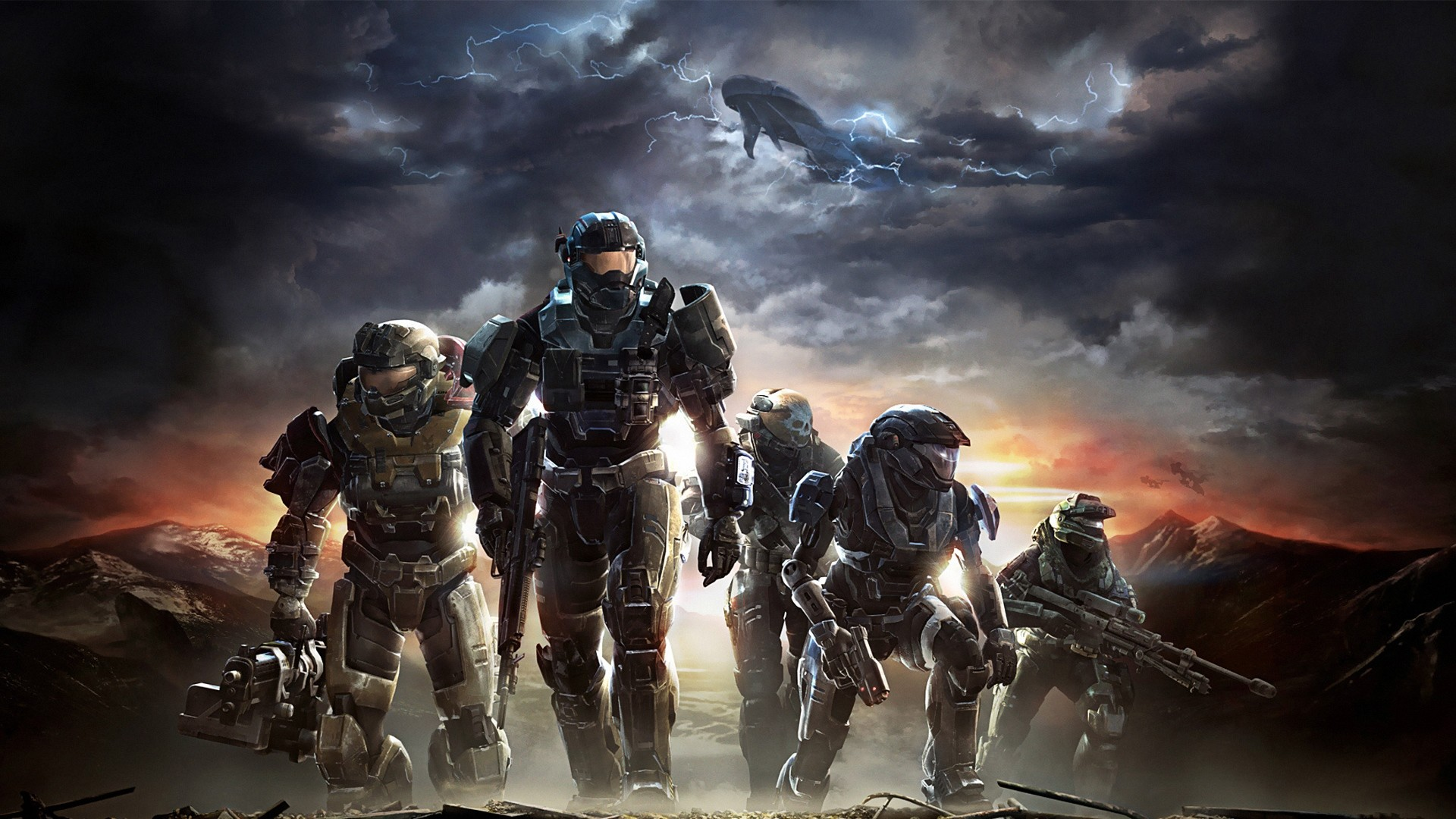 Preview wallpaper halo, soldiers, sky, clouds, mountains 1920×1080