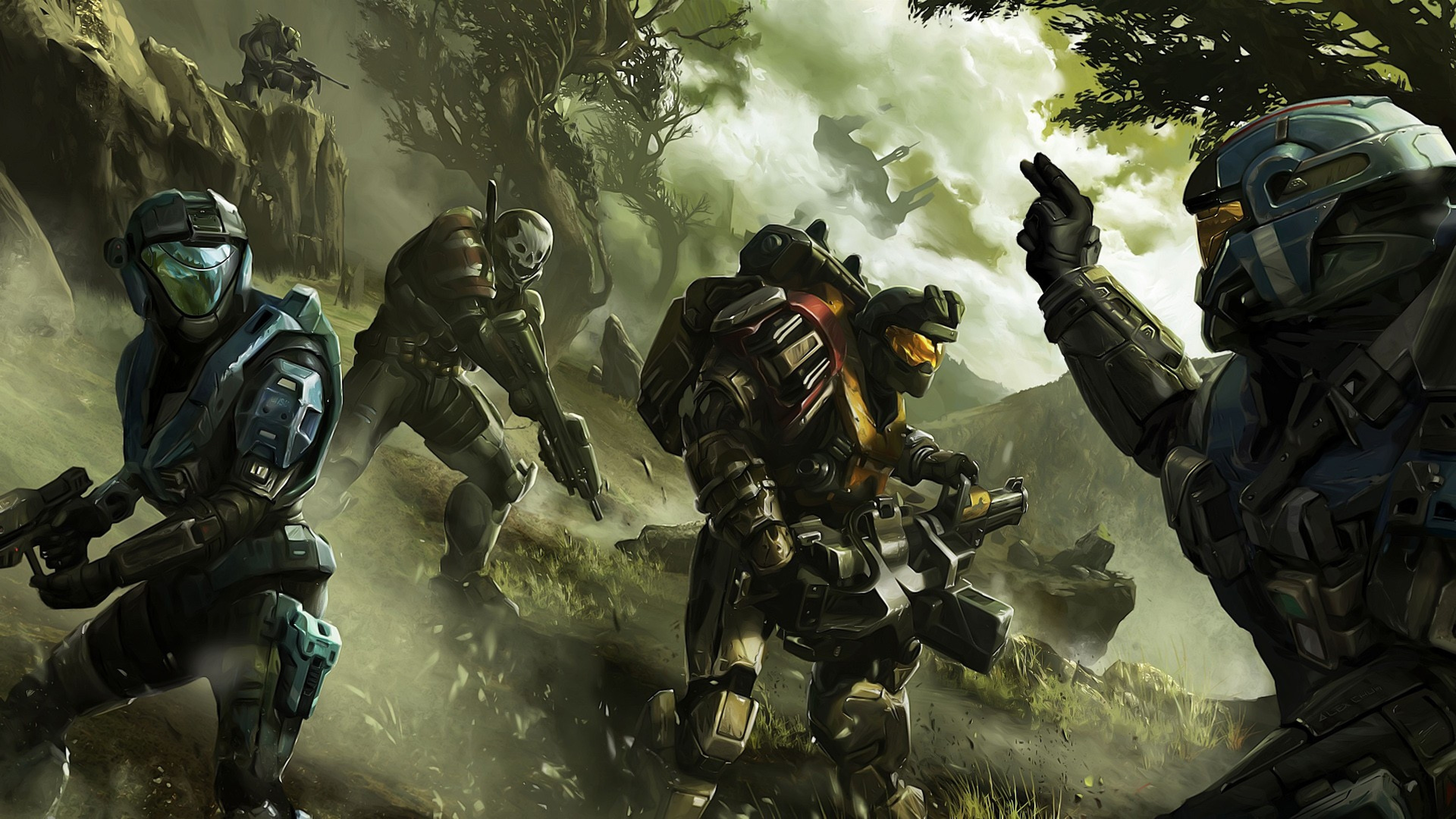 Preview wallpaper halo, soldier, commander, trees 3840×2160