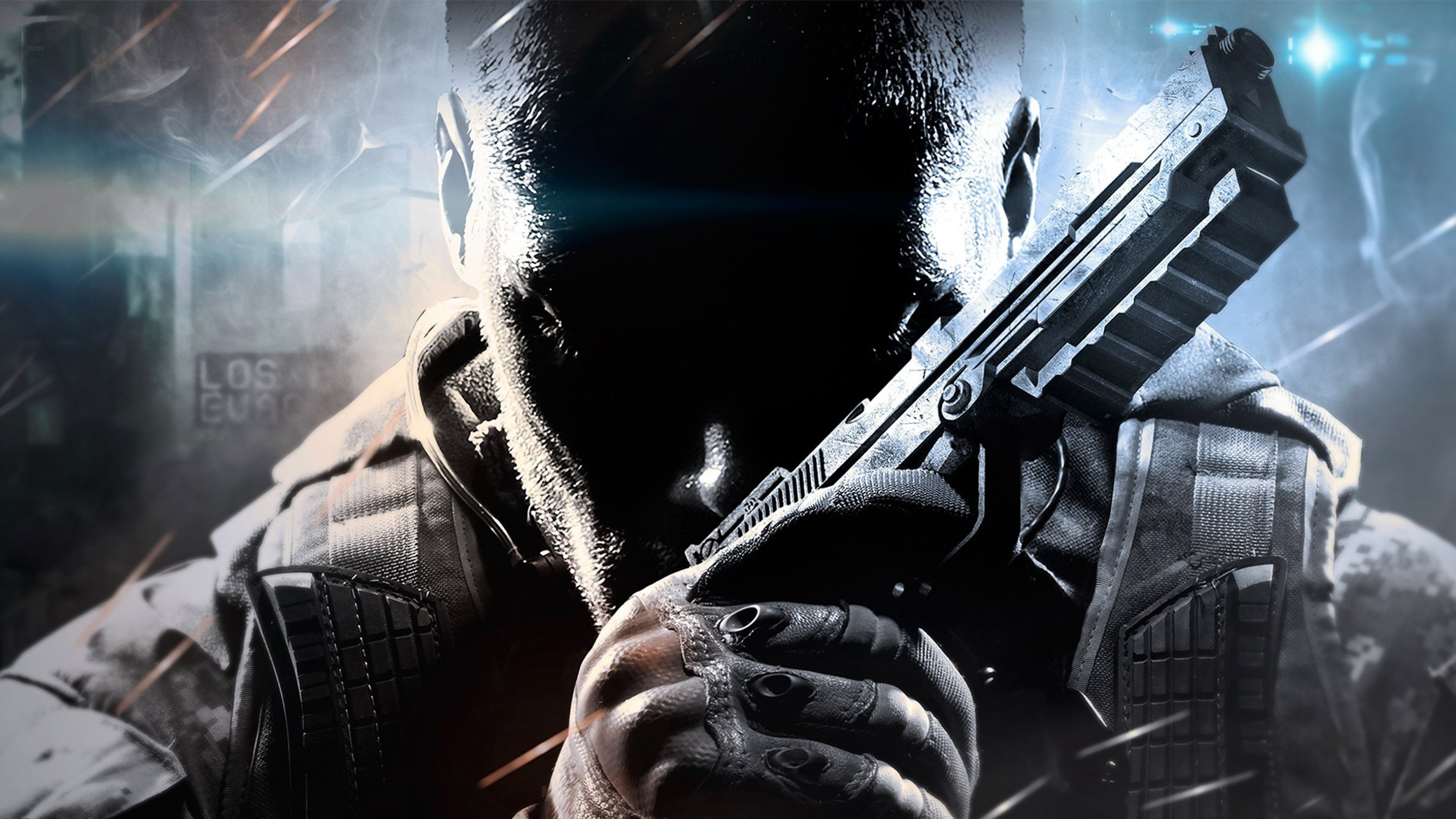 Preview wallpaper call of duty, black ops ii, face, arms 3840×2160